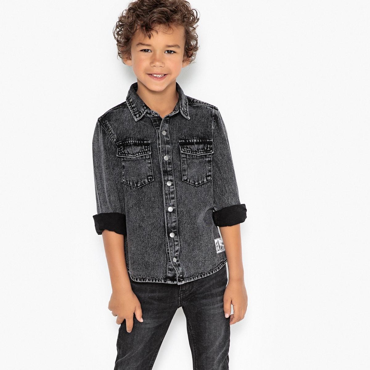 Рубашка джинсовая серая 3-12 лет цена 2017