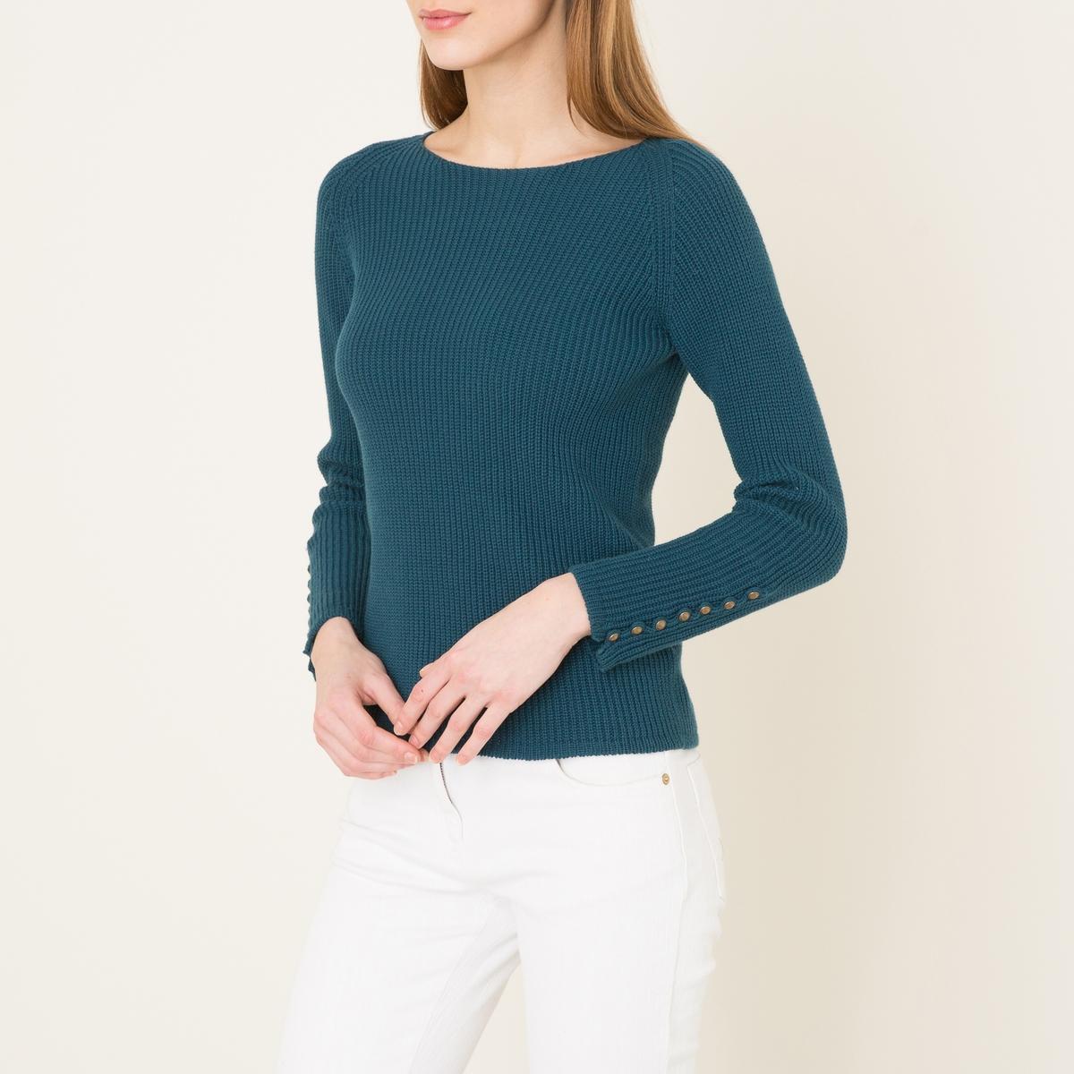 Пуловер BIWAПуловер SESSUN - модель BIWA из 90% хлопка, 10% кашемира. Вырез-лодочка. Трикотаж в рубчик. Рукава на пуговицах. Состав и описание   Материал : 90% хлопка, 10% кашемира    Марка :  SESSUN<br><br>Цвет: сине-зеленый