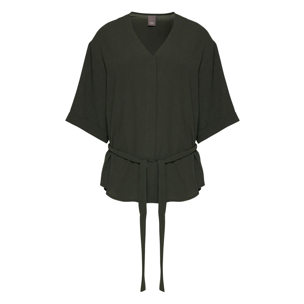 Блузка на завязке с V-образным воротником и короткими рукавами ENOVA SHIRTСостав и описаниеМарка: ICHI.Модель: ENOVA SHIRT.Материалы: 100% полиэстер.<br><br>Цвет: хаки<br>Размер: XS/S