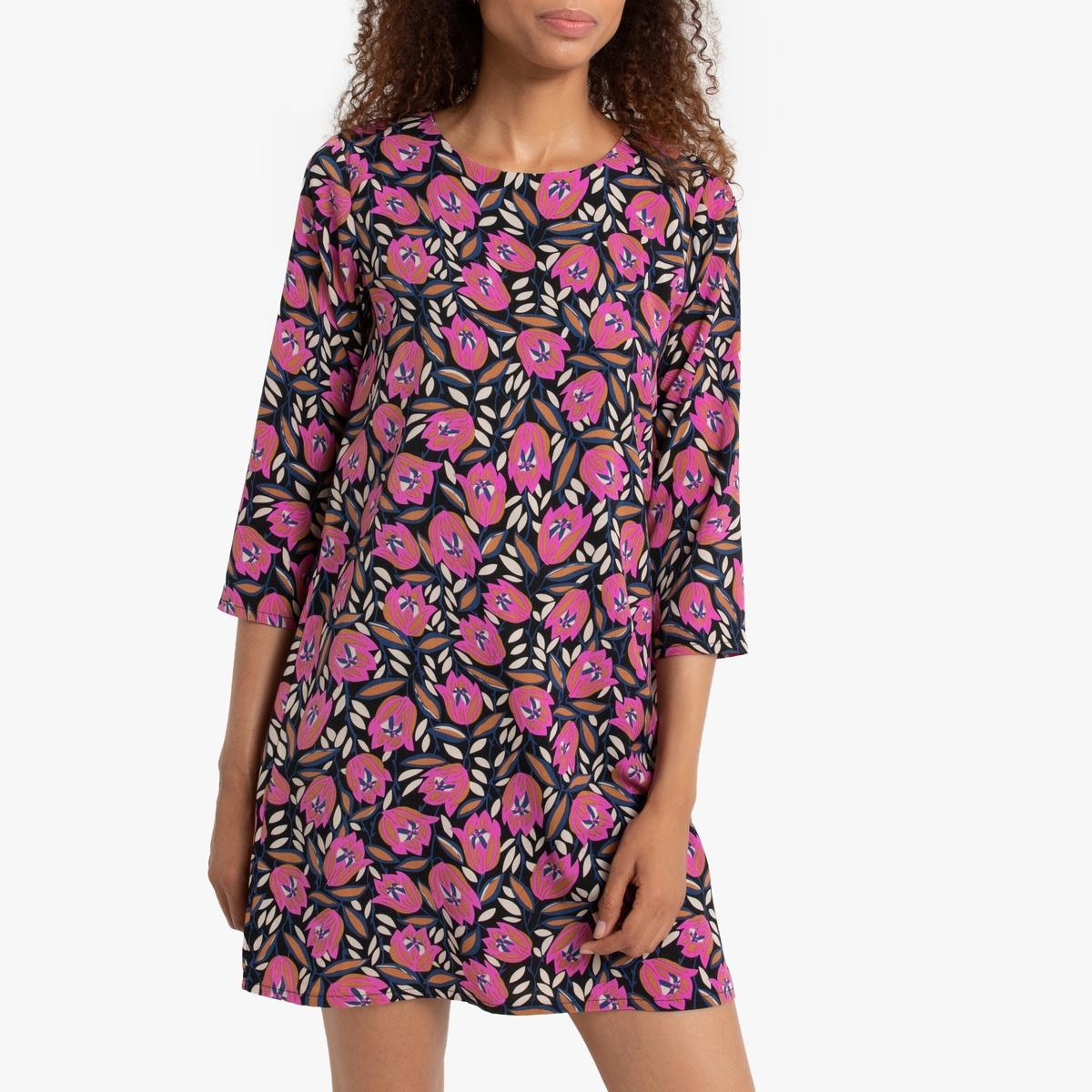 Платье La Redoute Короткое рукава с цветочным принтом XS черный
