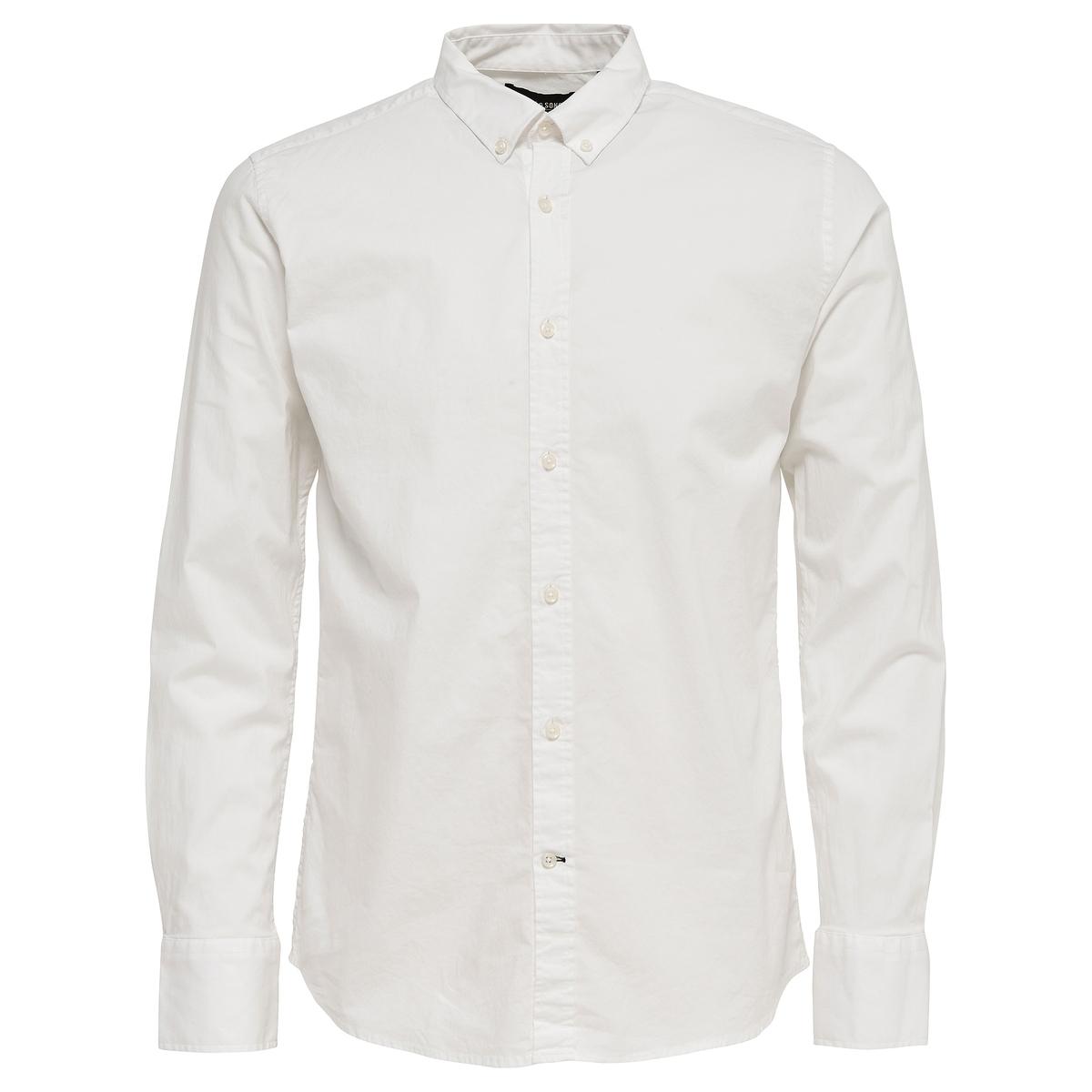 Рубашка из хлопка стрейч ONSALBIOLДлинные рукава с манжетами на пуговицах- Прямой покрой- Классический воротник с уголками на пуговицах- Застёжка на пуговицы- Слегка закругленный низСостав и описание:Основной материал : 97% хлопка, 3% эластанаМарка : ONLY &amp; SONS®Уход:Следуйте рекомендациям по уходу, указанным на ярлыке изделия.<br><br>Цвет: белый,черный<br>Размер: XL.XXL.XXL