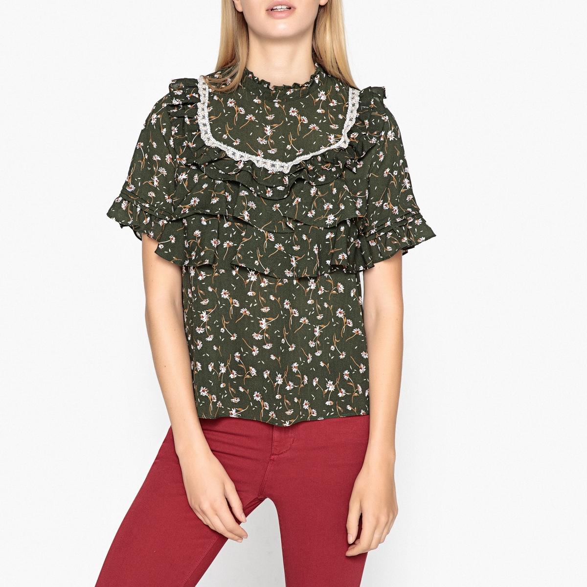 Блузка с цветочным принтом и короткими рукавами