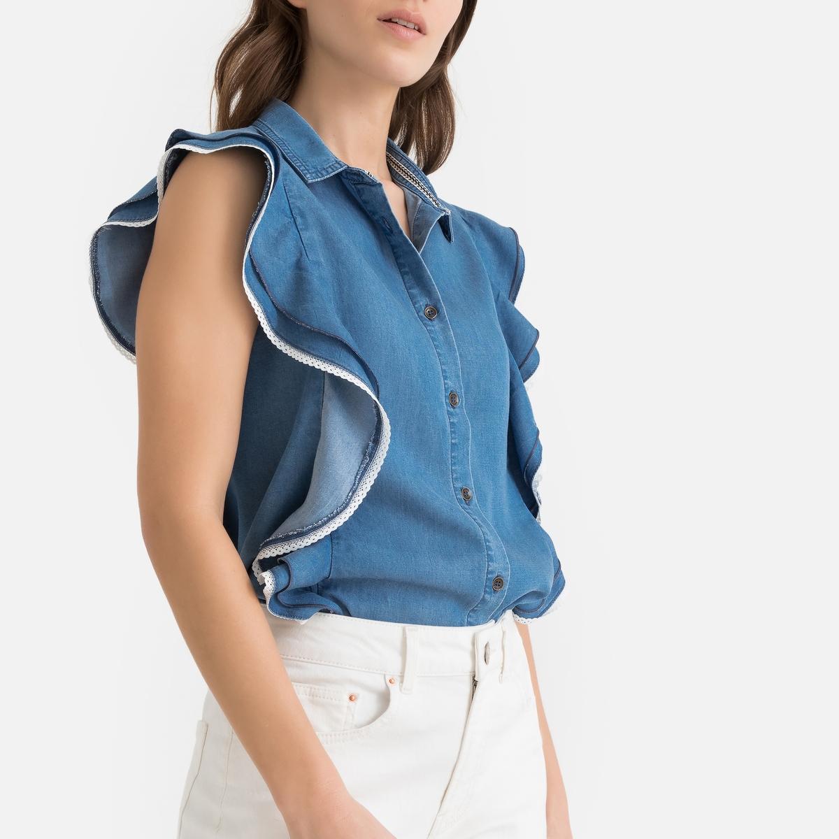 Блузка La Redoute С воланами из лиоцелла S синий кардиган la redoute из трикотажа с воланами s белый