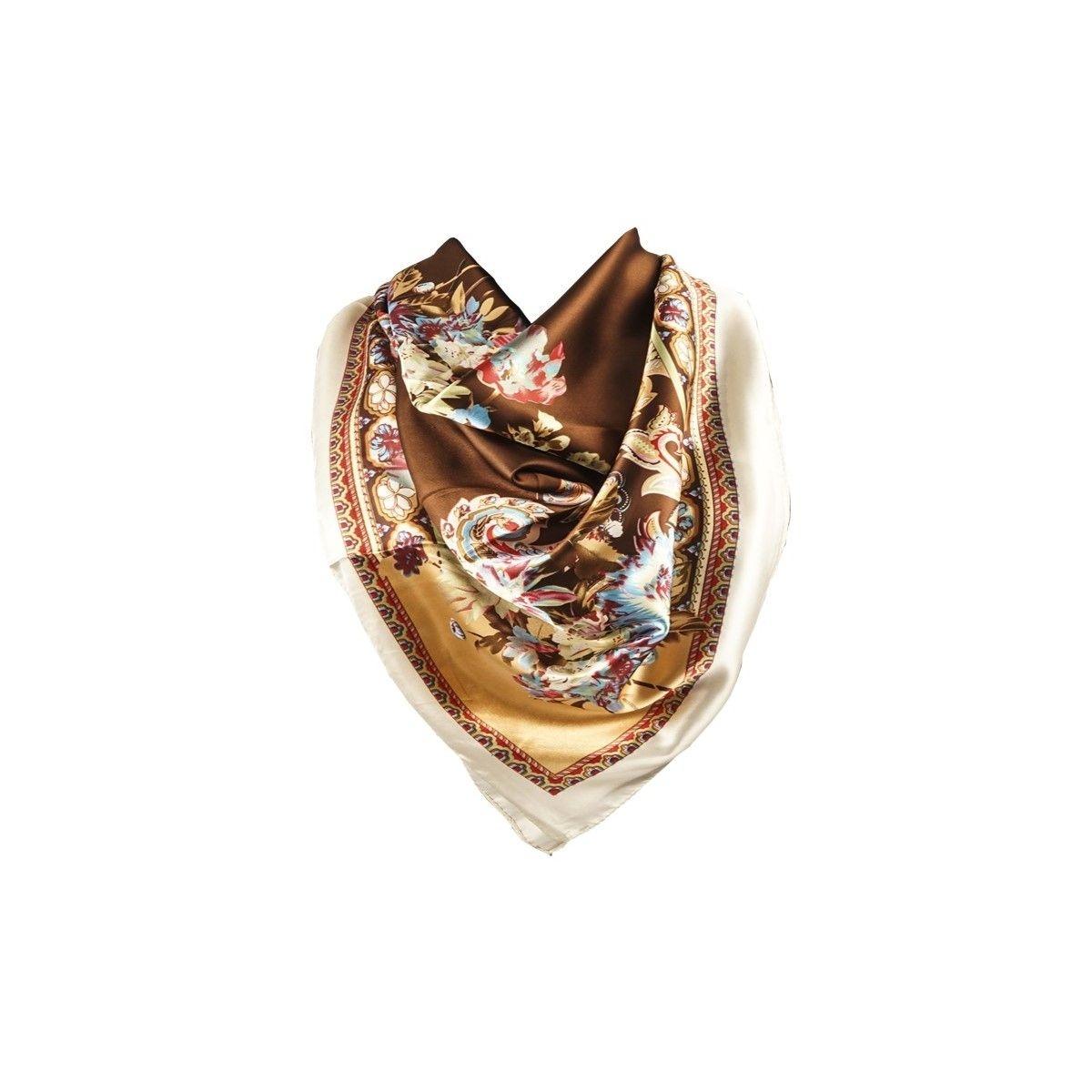 Foulard motif Brun avec sa pochette cadeau