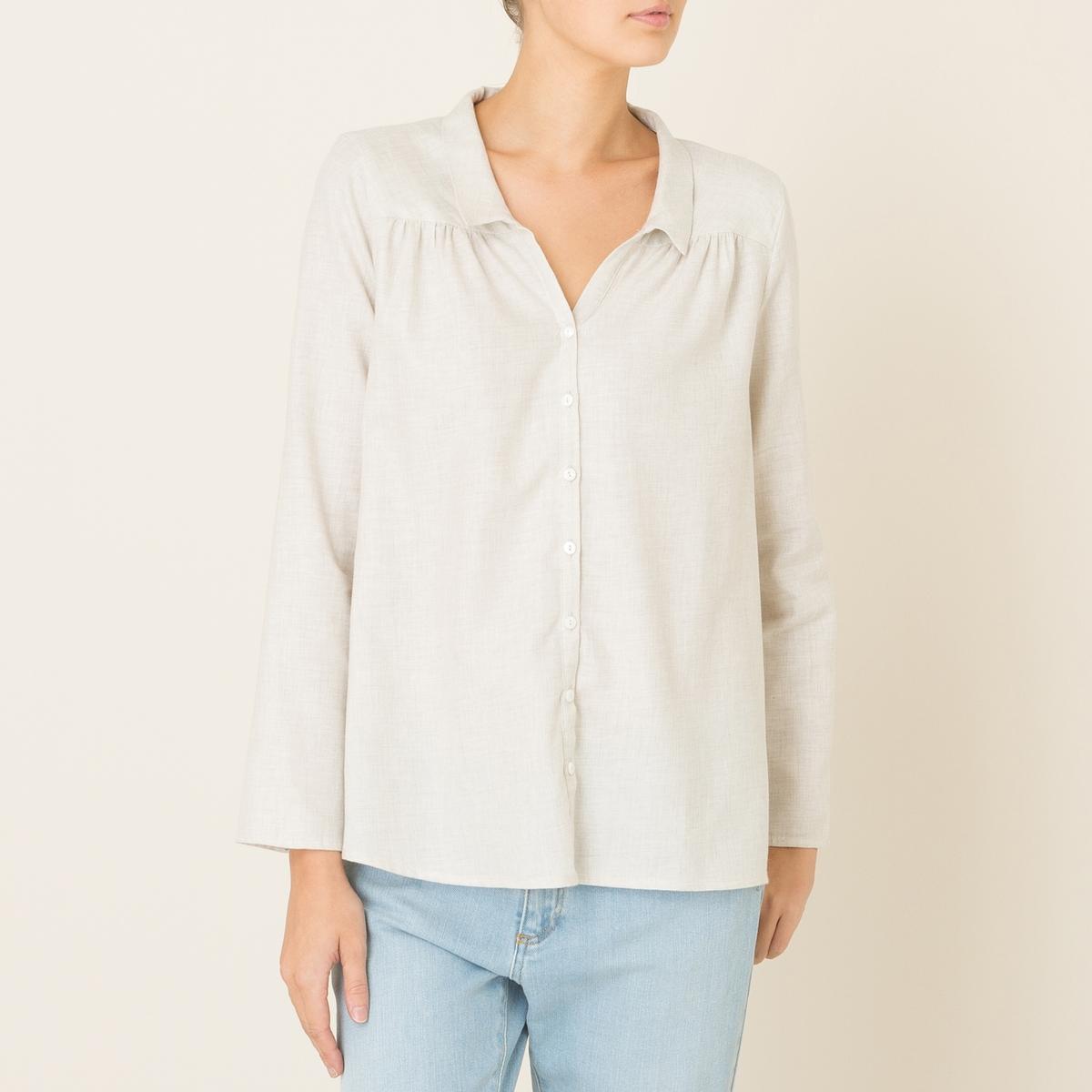 Рубашка VAMPРубашка HARRIS WILSON - модель VAMP . Рубашка свободного покроя. Маленький воротник со свободным вырезом . Отрезные детали и встречные складки спереди и сзади . Застежка на пуговицы спереди. Слегка закругленный низ. Состав &amp; Детали Материал : 100% хлопокМарка : HARRIS WILSON<br><br>Цвет: экрю<br>Размер: M