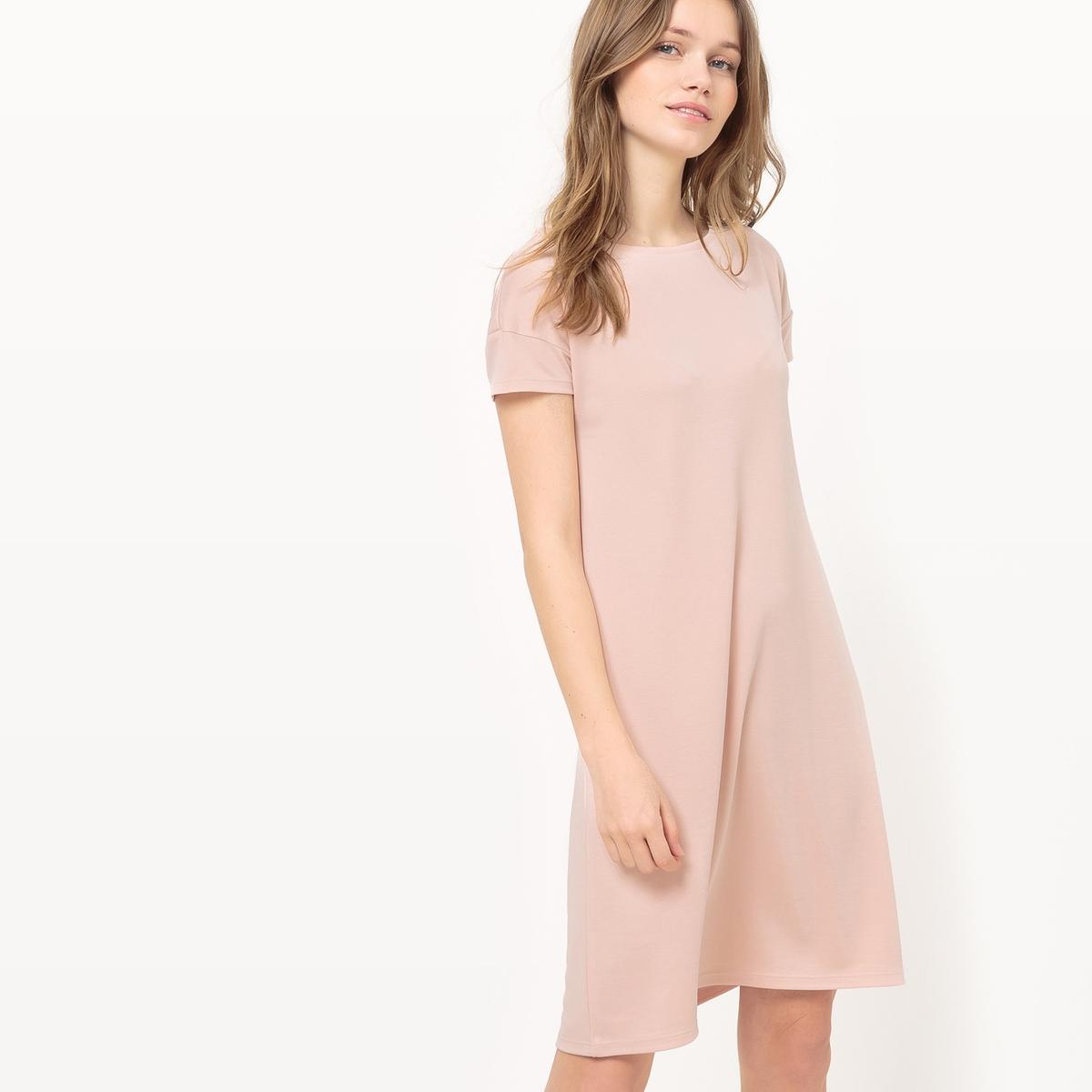 Платье-трапеция с короткими рукавами из модалаМатериал : 70% модала, 30% полиэстера  Длина рукава : короткие рукава  Форма воротника : круглый вырез Покрой платья : платье прямого покроя      Рисунок : однотонная модель   Длина платья : короткое<br><br>Цвет: антрацит,бледно-розовый,зеленый<br>Размер: S.S