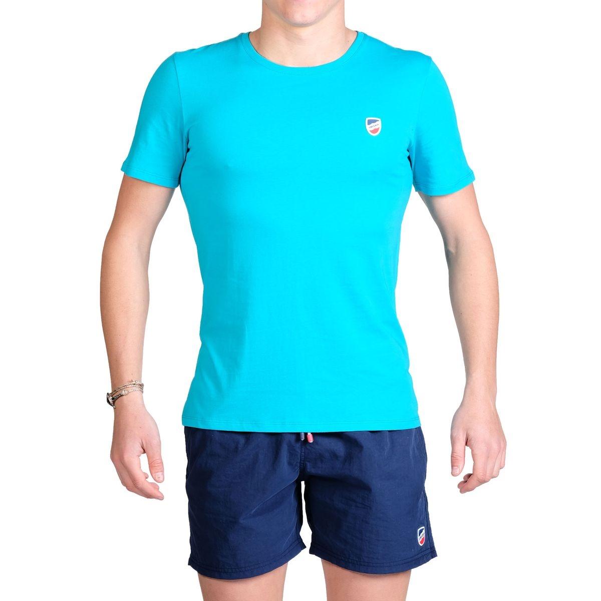 T-shirt manches courtes bleu Lagon écusson