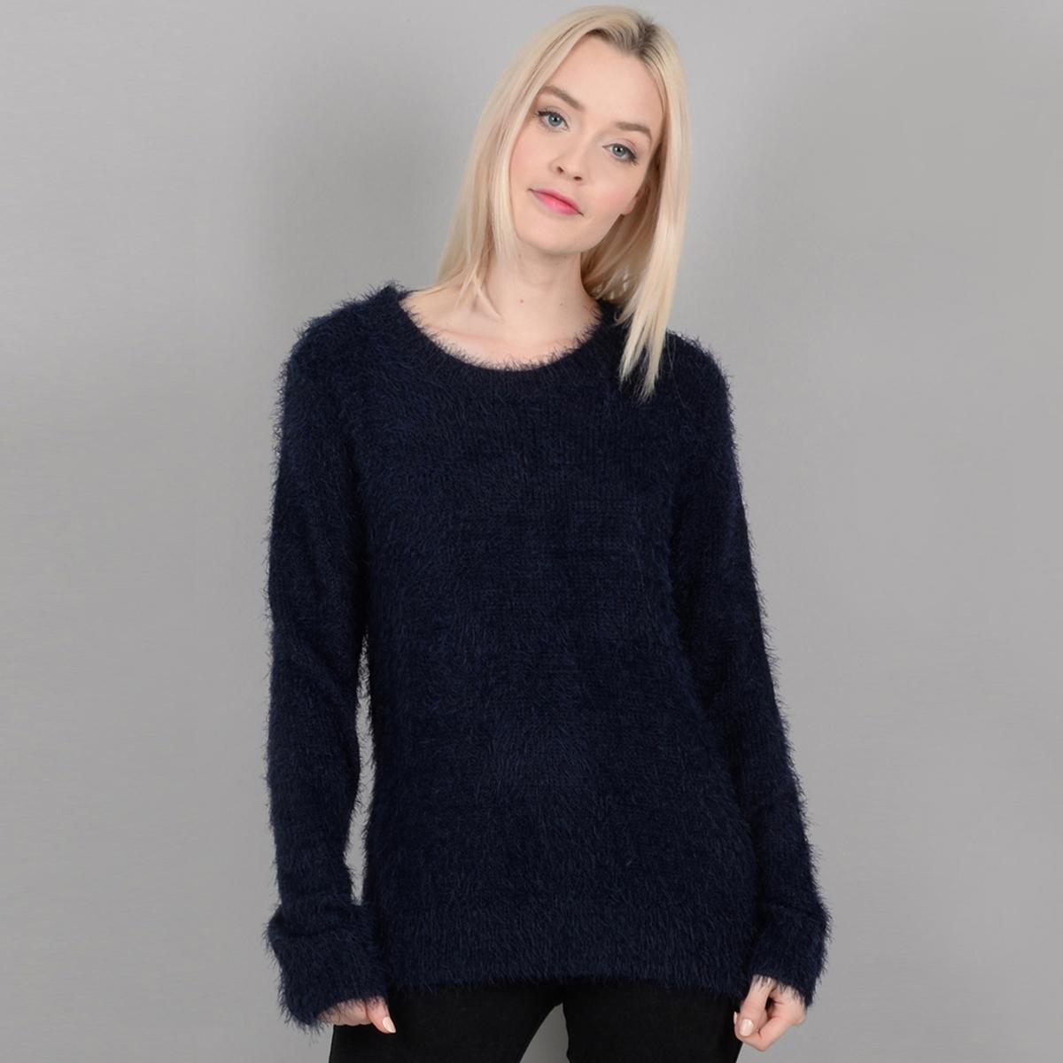 Пуловер из мягкого трикотажа с круглым вырезом и спинкой из кружева пуловер с круглым вырезом из хлопка и льна