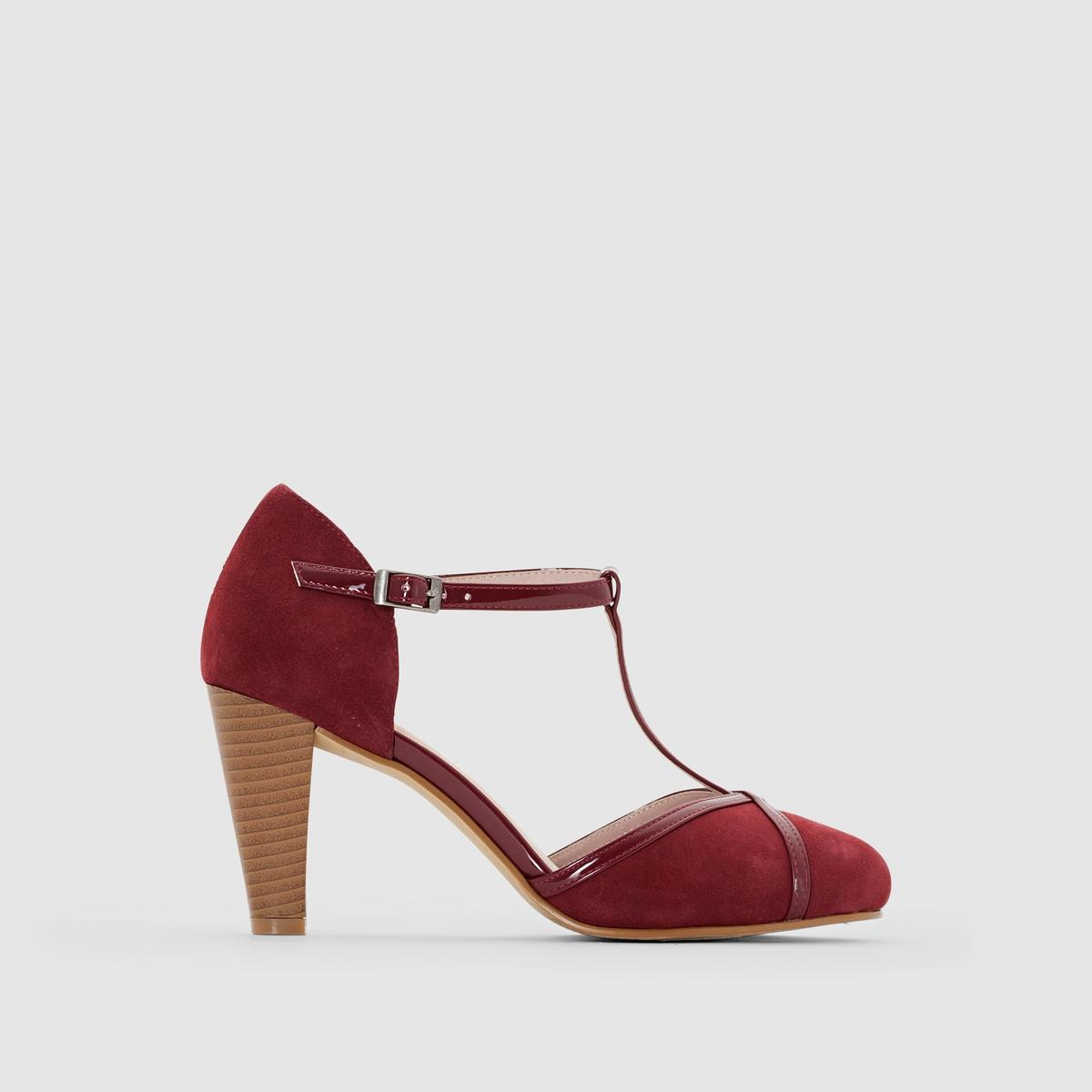 Туфли кожаныеДетали  •  Широкий каблук •  Высота каблука : 5 см •  Застежка : ремешок/пряжка •  Заостренный мысок •  Велюровая отделка, нубукСостав и уход  •  Верх 100% спилок •  Подкладка 100% кожа<br><br>Цвет: серо-коричневый,черный/серый<br>Размер: 40.41.36