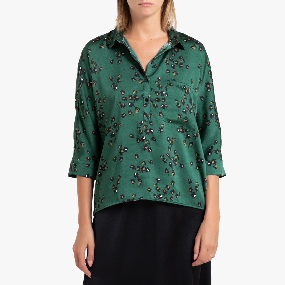 Блузка La Redoute С рисунком и рукавами VICTORI XL зеленый блузка с рисунком и рукавами с напуском kalao blouse