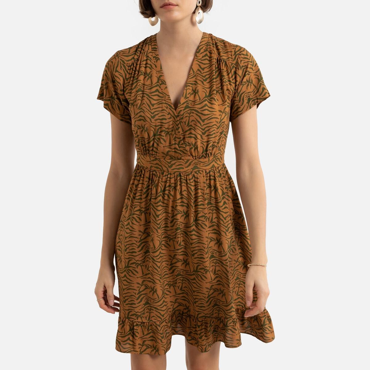 Платье LaRedoute Укороченное с принтом V-образным вырезом короткими рукавами 1(S) каштановый