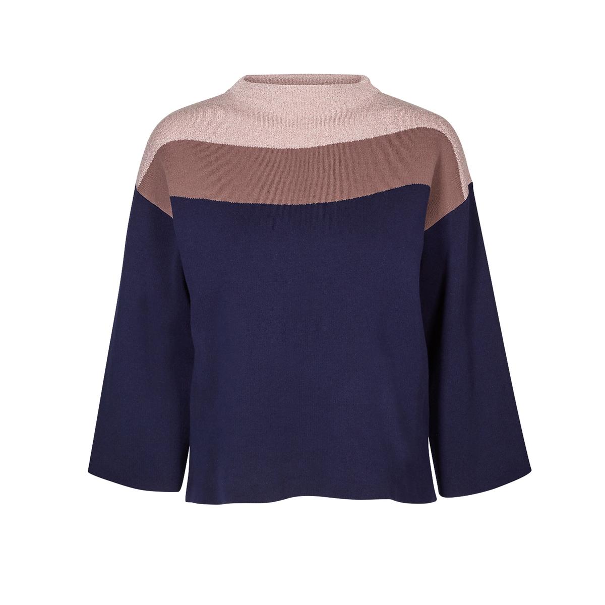Пуловер трехцветныйОписание:Детали  •  Длинные рукава •  Круглый вырез •  Тонкий трикотаж  •  Рисунок в полоску  Состав и уход  •  97% хлопка, 3% эластана •  Следуйте советам по уходу, указанным на этикетке<br><br>Цвет: в полоску синий/розовый<br>Размер: M.XL.XS