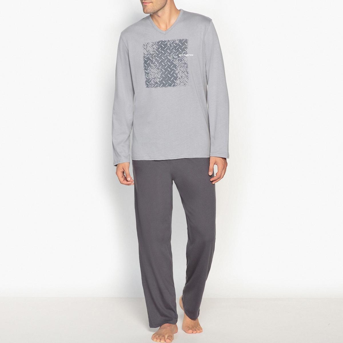 Пижама с длинными рукавами пижама из двух материалов с длинными рукавами