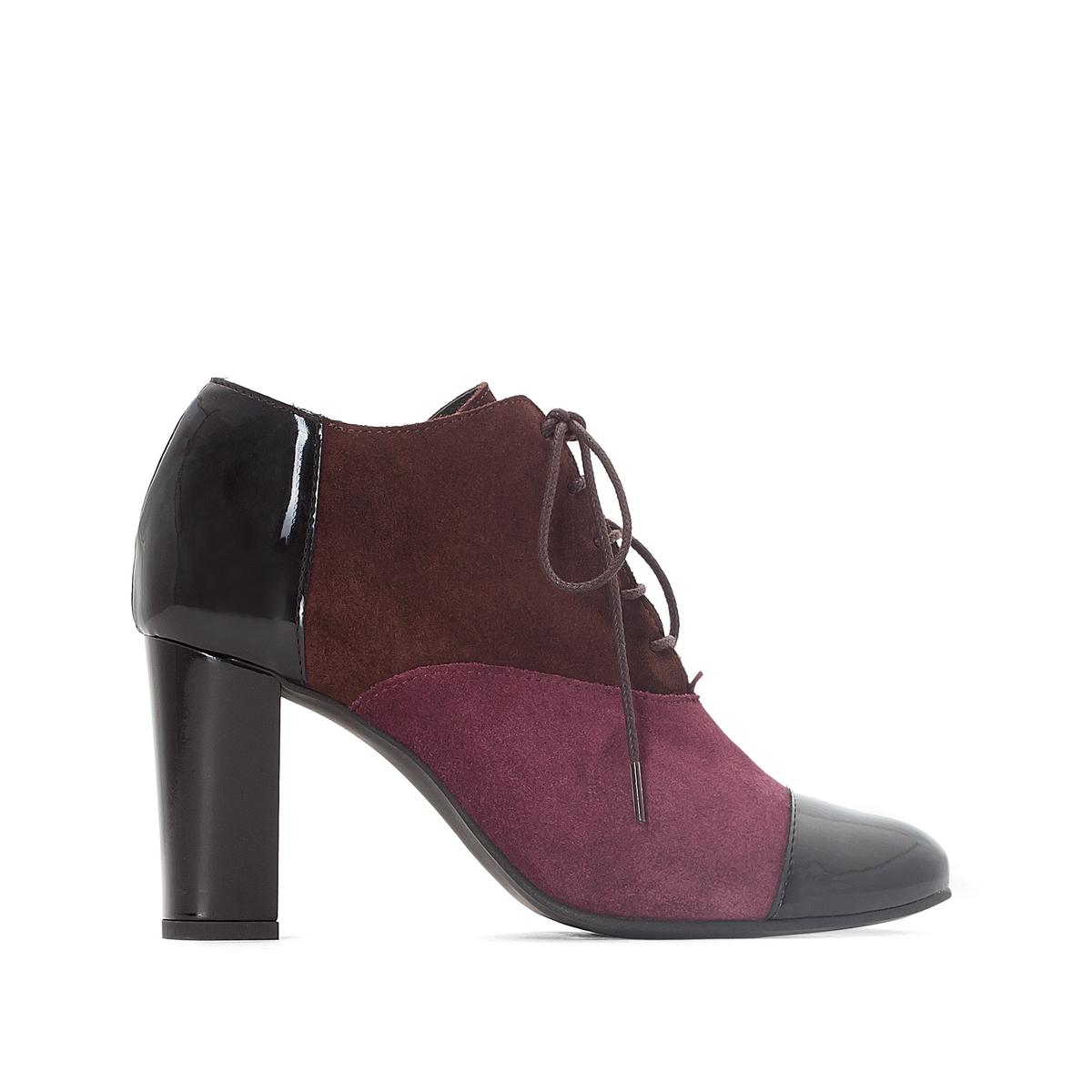 Ботинки-дерби трехцветные кожаные на высоком каблуке