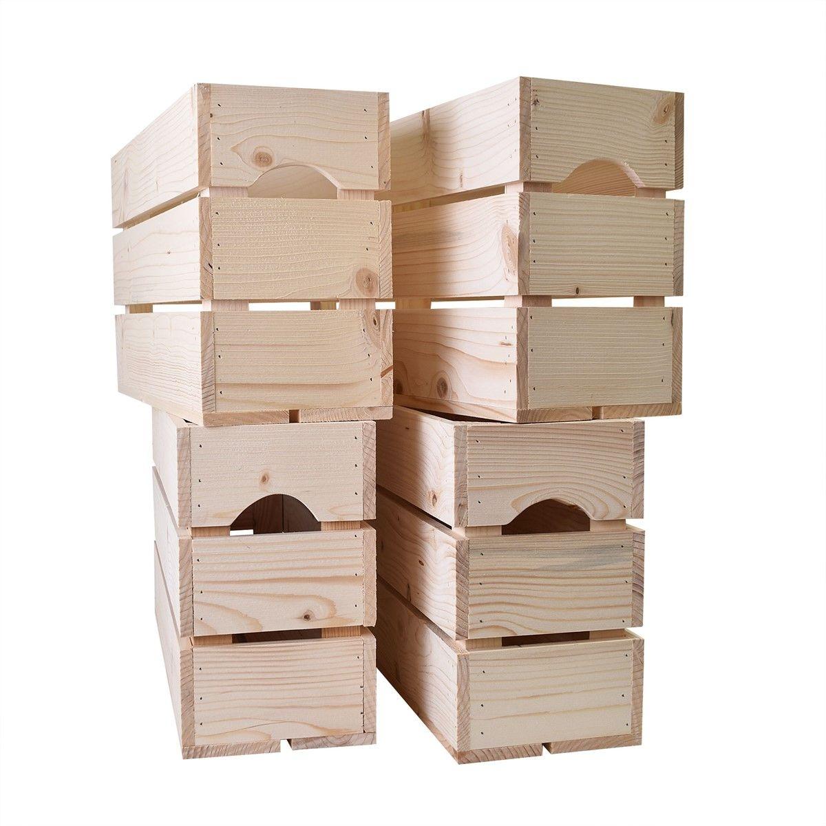 Lot de 4 caisses en bois Demi HAUT L54xH30xP18cm