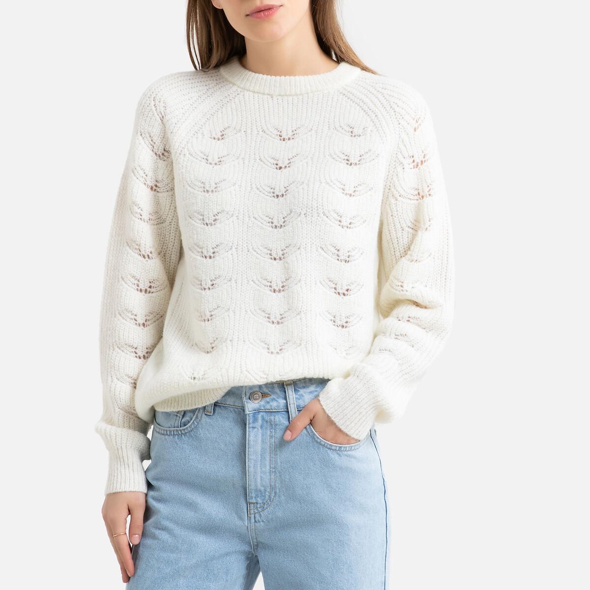 Пуловер La Redoute С круглым вырезом из плотного трикотажа M белый пуловер la redoute с круглым вырезом из плотного трикотажа 3xl бежевый