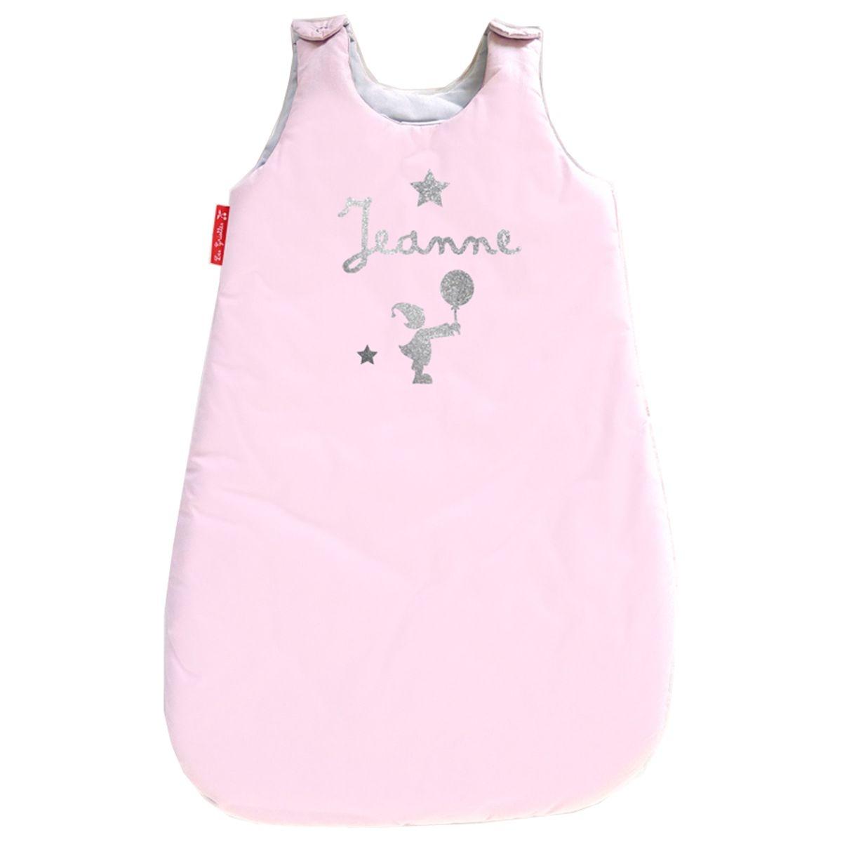 Gigoteuse prénom en coton rose pale 0-6 mois motif fille et ballon