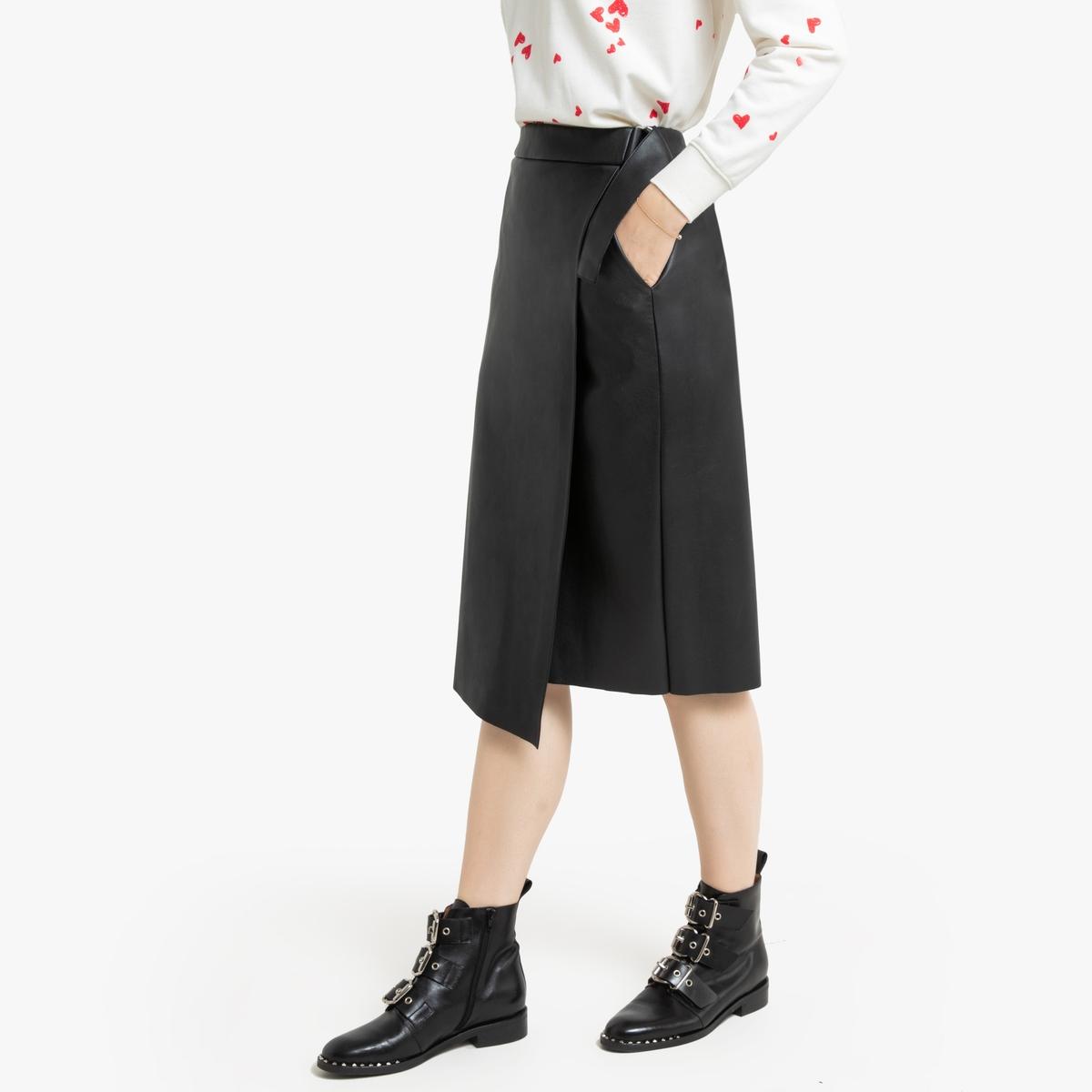 Юбка-миди La Redoute С запахом 34 (FR) - 40 (RUS) черный юбка с запахом на пуговицах