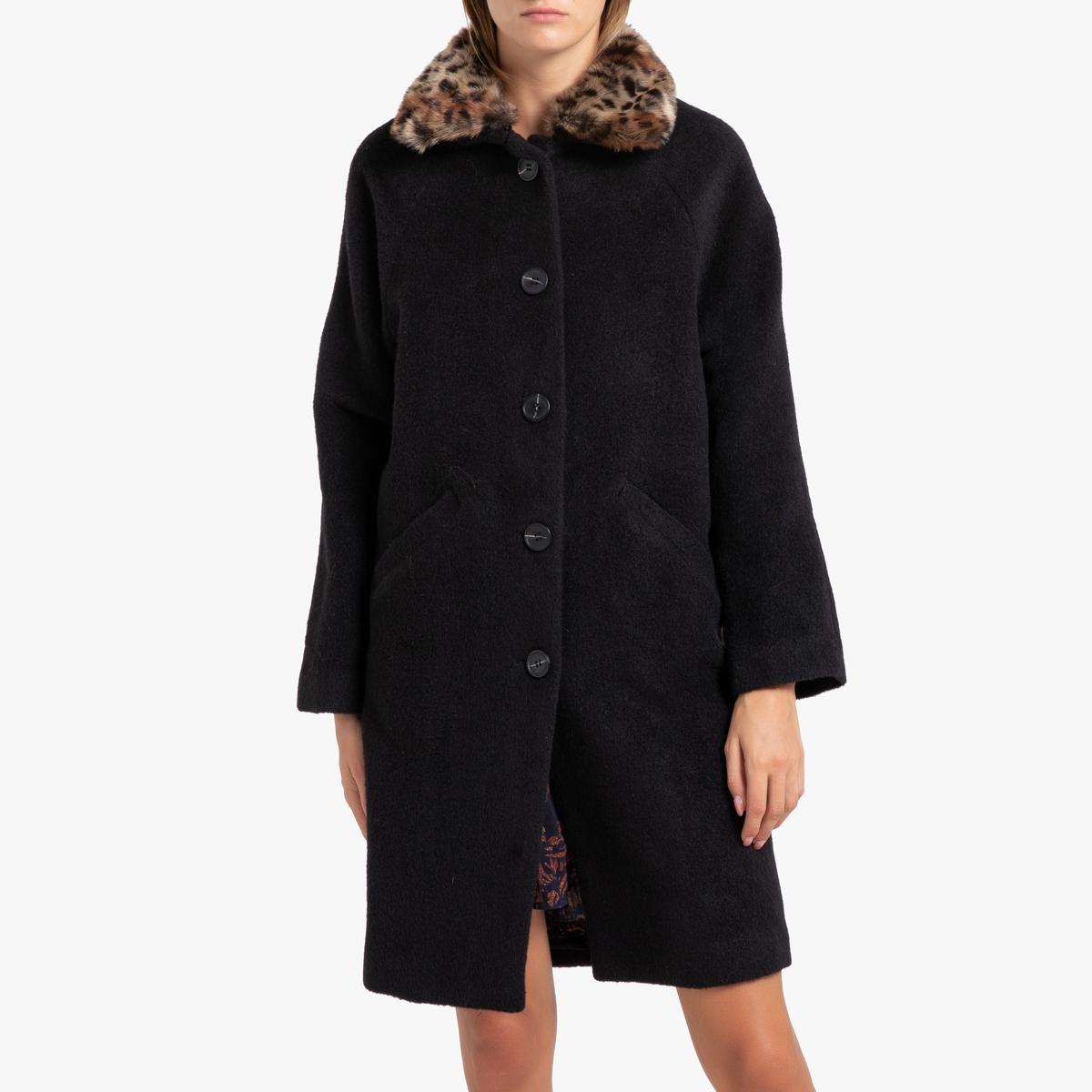 все цены на Пальто La Redoute Длинное с застежкой на пуговицы EBONY 0(XS) черный онлайн