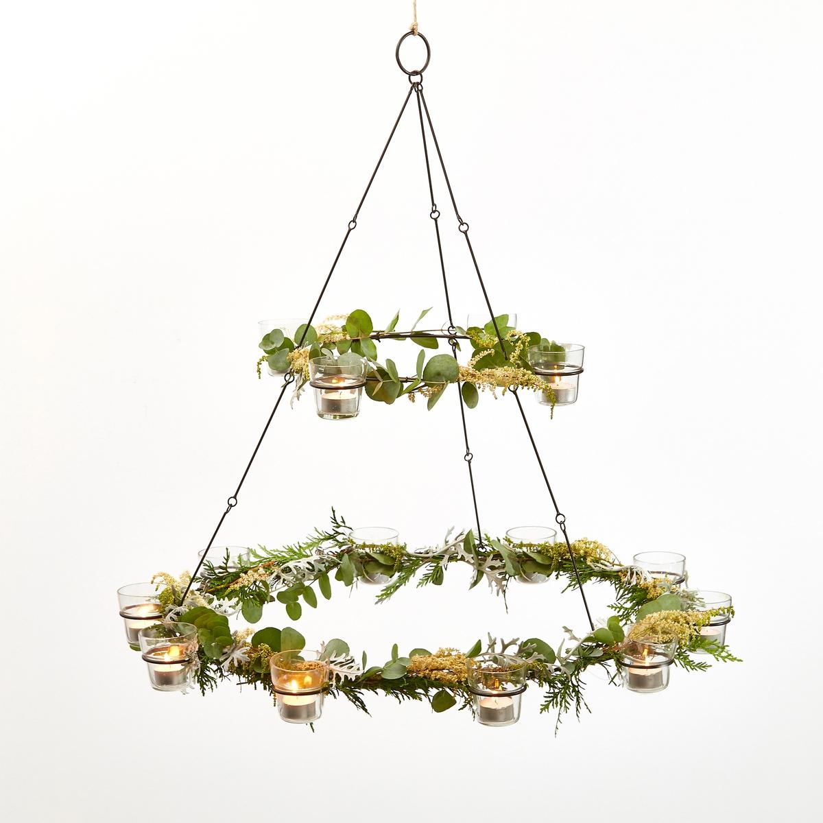 Лампа подвесная ZayanneОписание:Лампа Zayanne. Прекрасно украсит ваш сад или дом  .14 греющих свечей, размещенные в стеклянных стаканчиках будут распространять красивый рассеянный свет. Каркас из металла. Крепление к потолку (саморезы и дюбели не входят). Размеры : ? макс. 75 x H71 см .<br><br>Цвет: металл