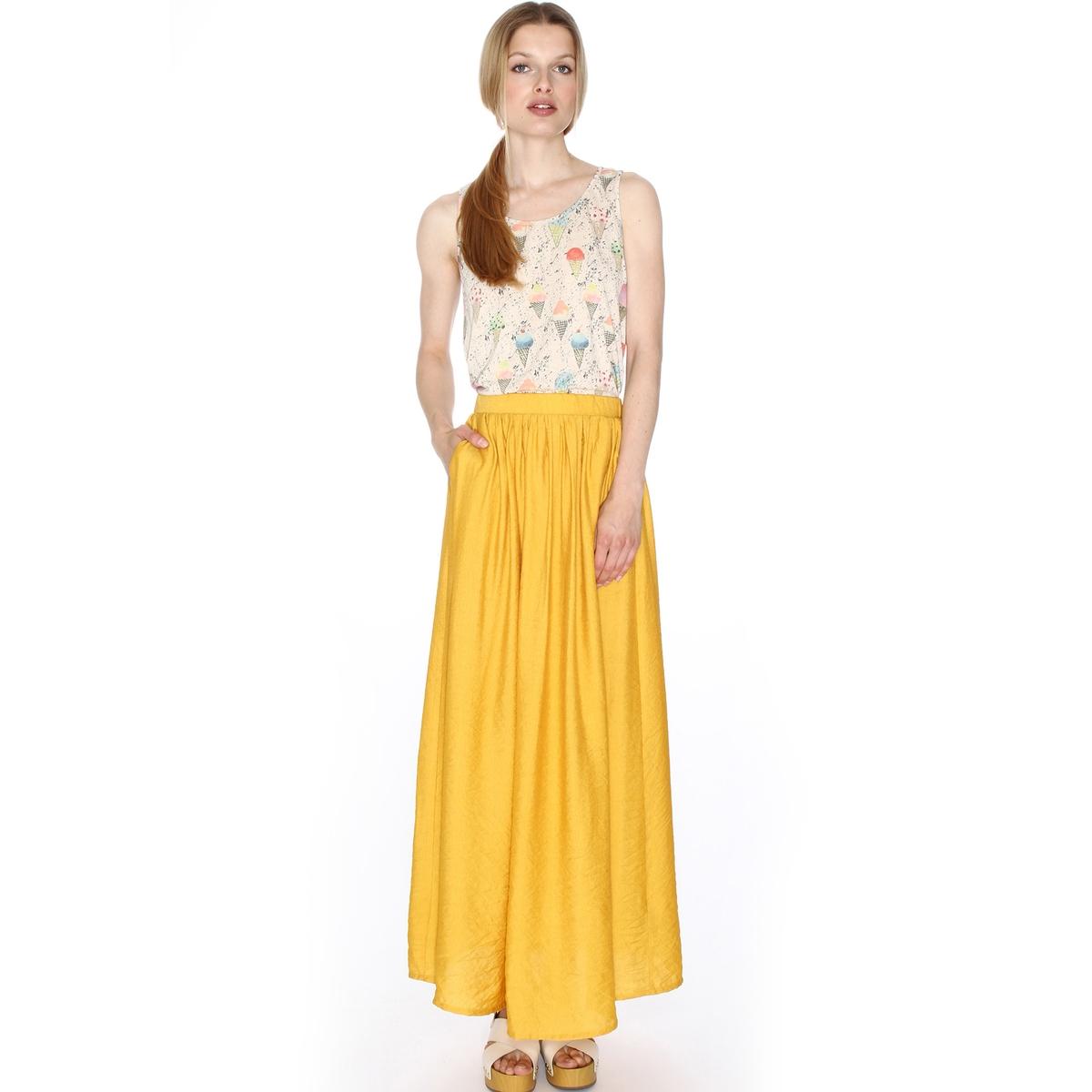 Юбка длинная расклешеннаяМатериал : 45% полиамида, 55% полиэстера Рисунок : Однотонная модель Длина юбки :укороченная модель<br><br>Цвет: желтый горчичный