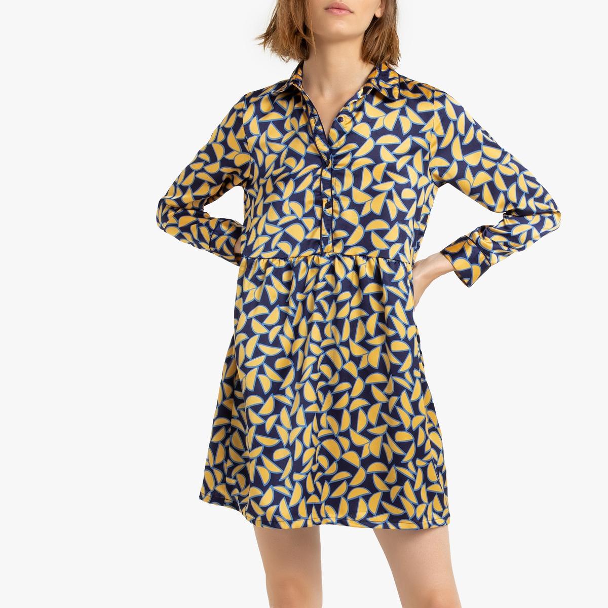 Платье La Redoute Короткое расклешенное с графическим рисунком M желтый платье короткое с графическим рисунком без рукавов