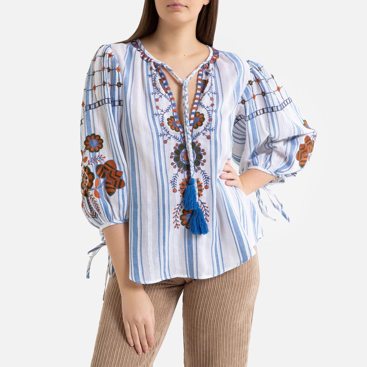 цена на Блузка La Redoute В полоску с вышивкой в этническом стиле CAMILLA 40 (FR) - 46 (RUS) синий