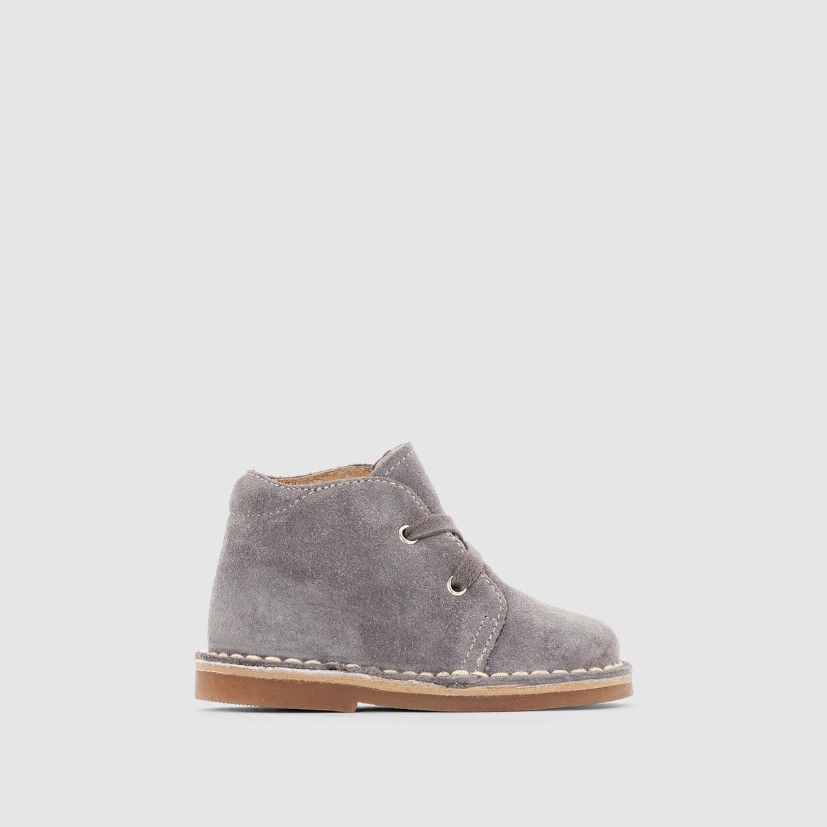 Ботинки кожаные на шнуровкеПреимущества: стеганый верх голенища для большего комфорта.<br><br>Цвет: серый,темно-бежевый,темно-синий<br>Размер: 21.25.19.22