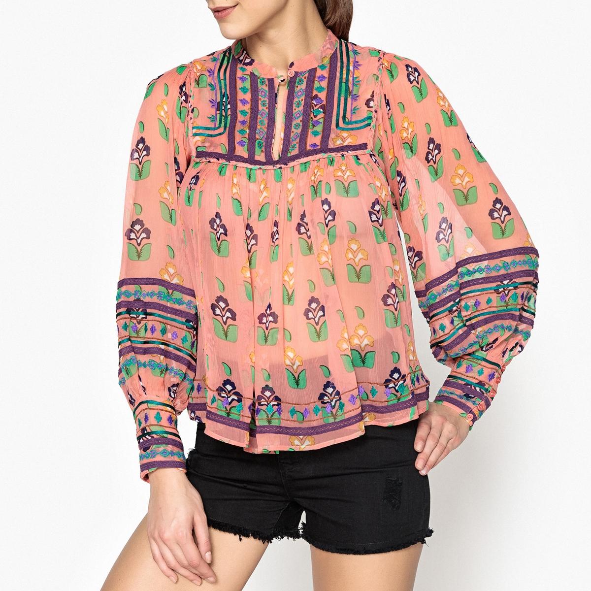 Топ-блузка из вуали с принтом MIA BLOUSE блузка с принтом