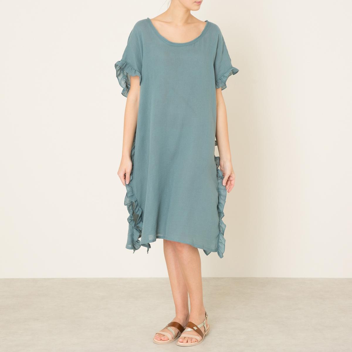Платье  MADRAGUEСостав и описание    Материал : 100% хлопок   Длина : ок. 97 см. для размера 36   Марка : TOUPY<br><br>Цвет: сине-серый<br>Размер: S/M