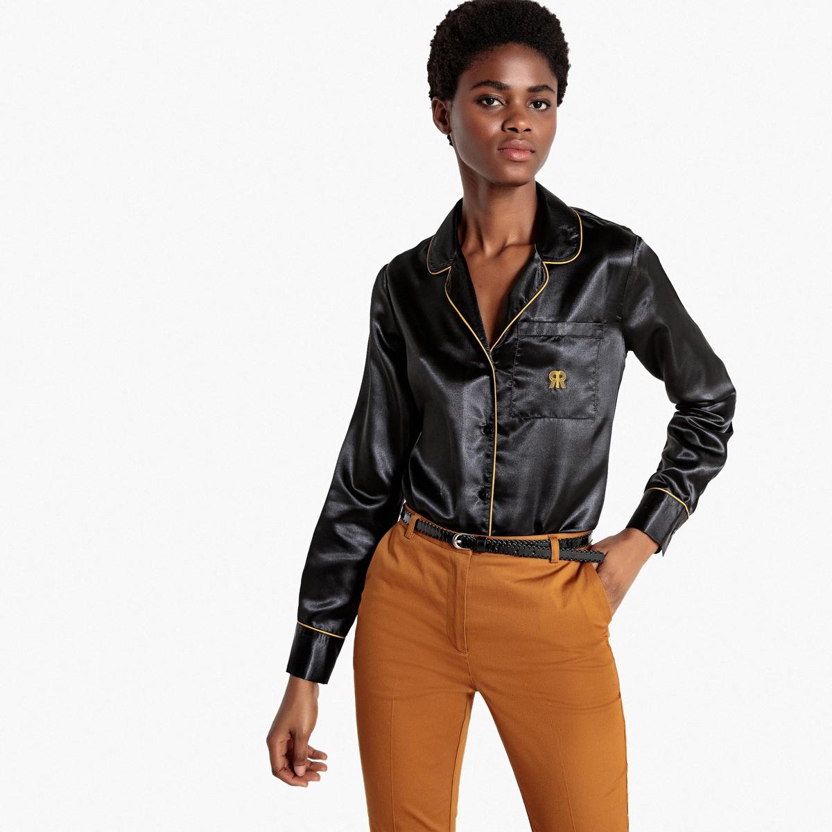 Рубашка La Redoute Прямого покроя с длинными рукавами из сатина 40 (FR) - 46 (RUS) черный платье la redoute расклешенное средней длины с длинными рукавами из велюра 56 fr 62 rus черный