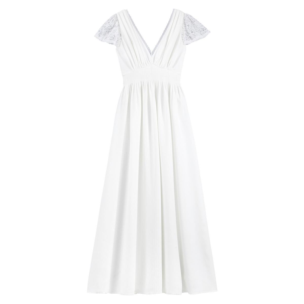 Платье La Redoute Невесты длинное короткие кружевные рукава 36 (FR) - 42 (RUS) белый