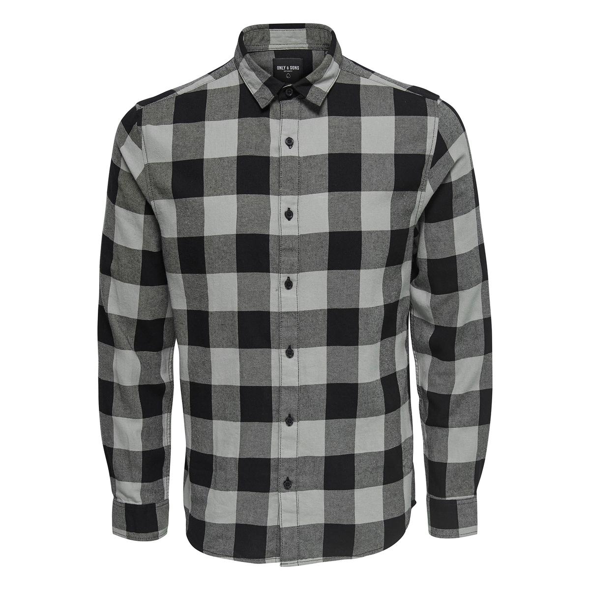 Фото - Рубашка прямого покроя в клетку с длинными рукавами рубашка однотонная прямого покроя с короткими рукавами 100% лен