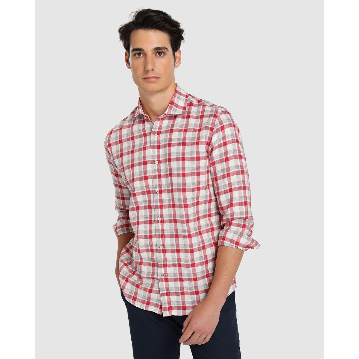 Chemise regular en lin à carreaux