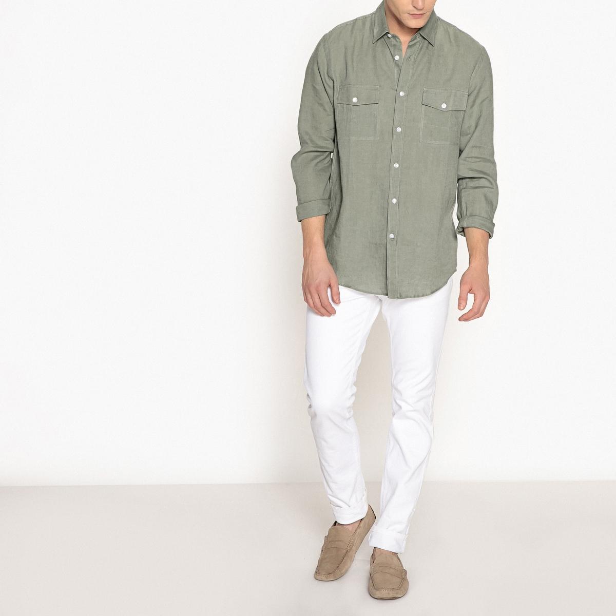 Рубашка зауженного покроя из льна napapijri рубашка napapijri