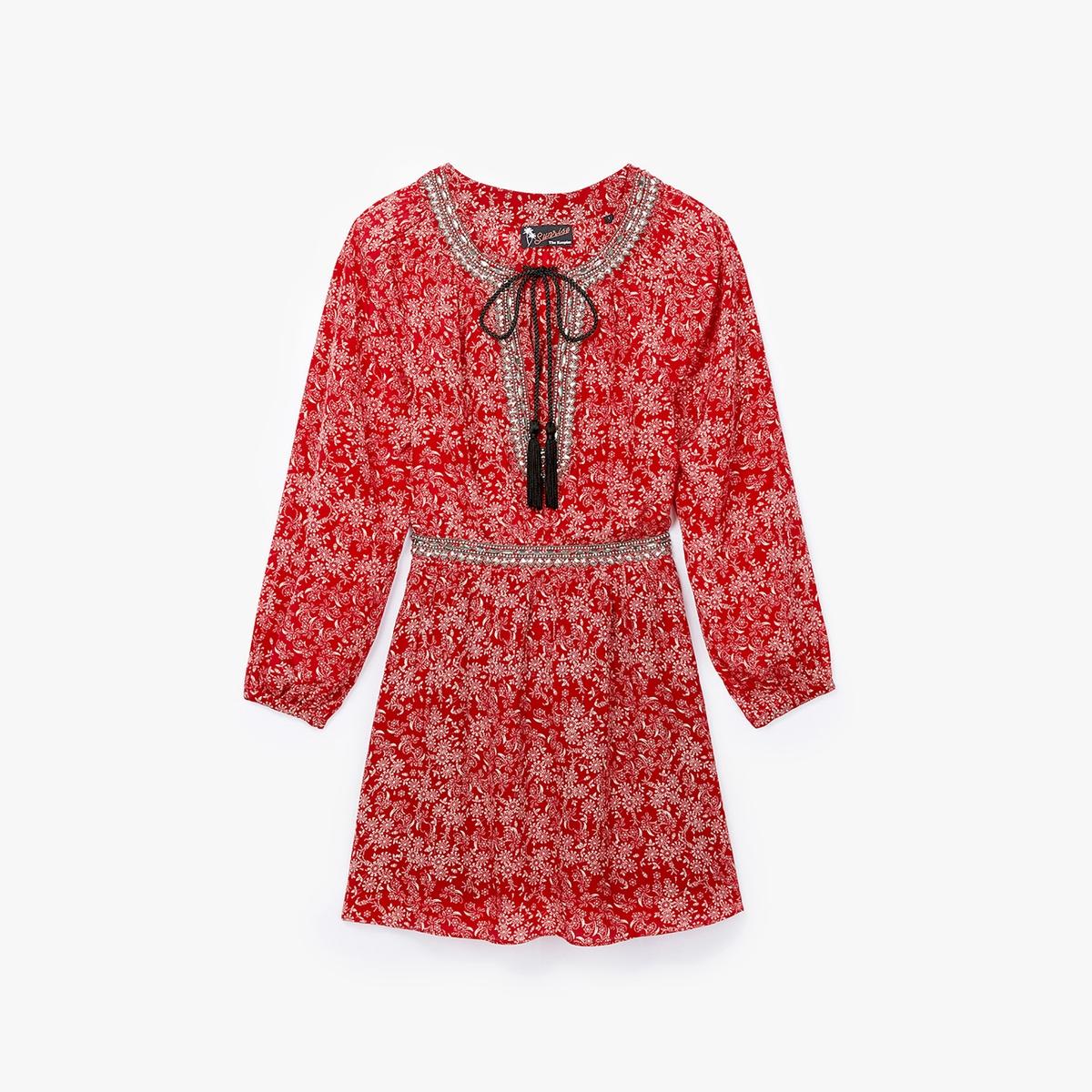 Платье из шелка с принтомСостав и описание    Материал: 100% шелк   Подкладка: 100% полиэстер   Вставки: 100% металл  Марка: THE KOOPLES<br><br>Цвет: наб. рисунок красный