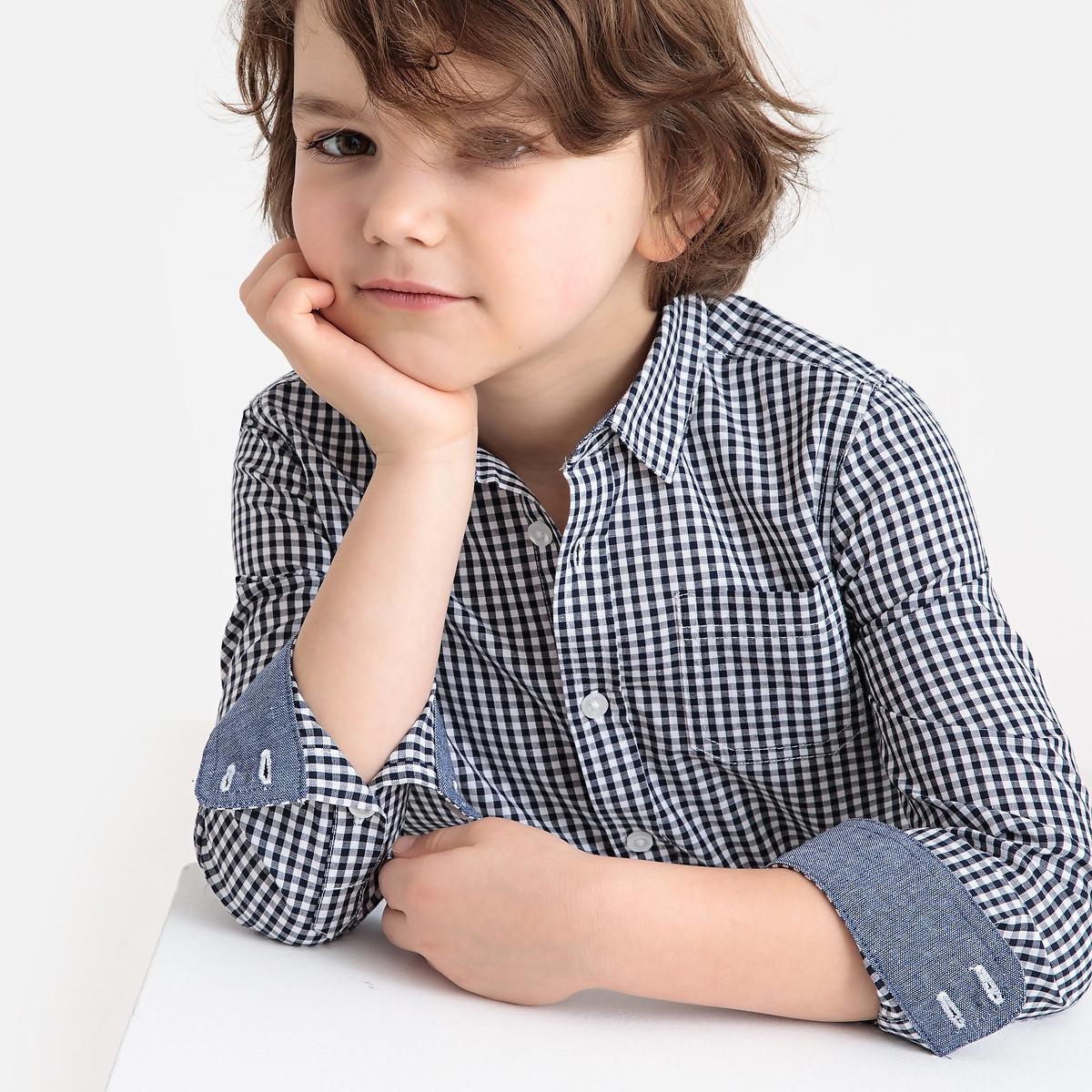 Фото - Рубашка LaRedoute В клетку с длинными рукавами 3-12 лет 6 лет - 114 см синий рубашка laredoute джинсовая 3 12 лет 8 лет 126 см синий