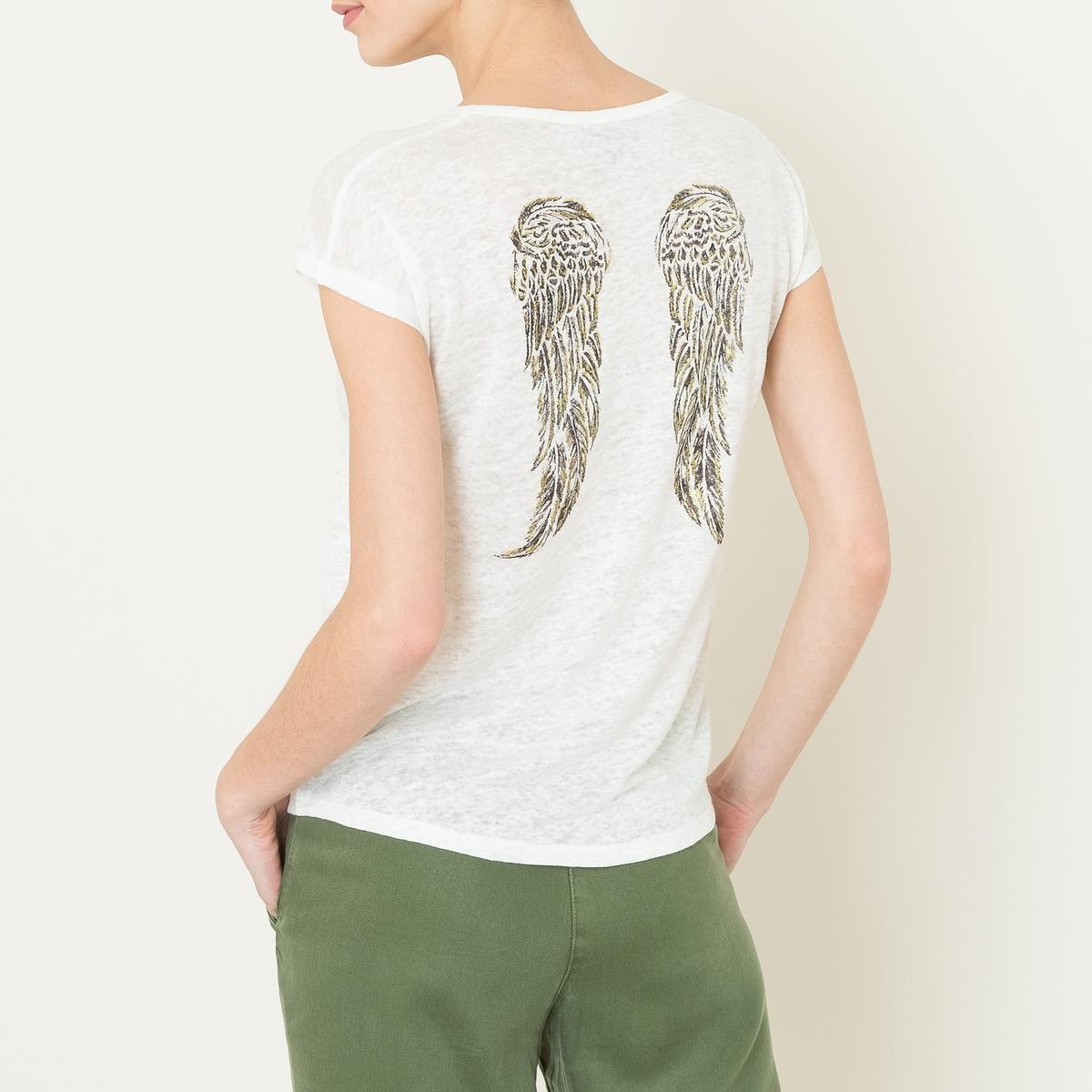 Футболка VIRGILФутболка  BERENICE - модель VIRGIL из 100% льна с рисунком блестками крылья сзади. Тонкий свободный круглый вырез в рубчик. Короткие рукава. Рисунок блестками крылья сзади. Накладной нагрудный карман. Прямой подшитый низ. Состав и описание    Материал : 100% лен   Марка : BERENICE<br><br>Цвет: темно-синий,экрю