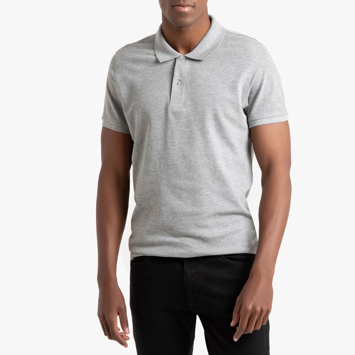 Футболка-поло LaRedoute Из хлопкового трикотажа пике Tom XL серый футболка поло la redoute прямого покроя из трикотажа пике s серый
