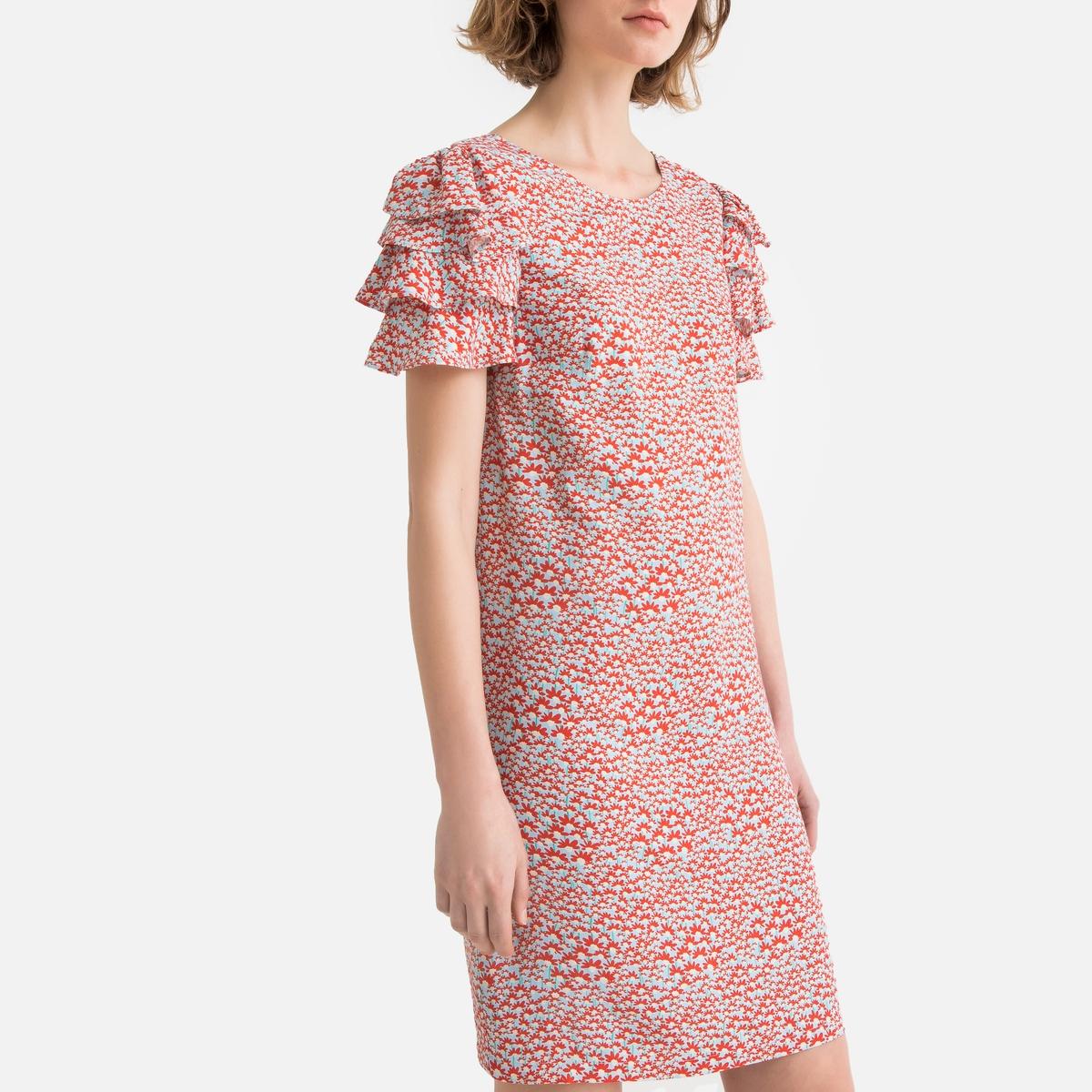 Платье La Redoute С цветочным рисунком и короткими рукавами с воланами 38 (FR) - 44 (RUS) разноцветный платье la redoute с цветочным рисунком короткими рукавами и воланами на груди s оранжевый