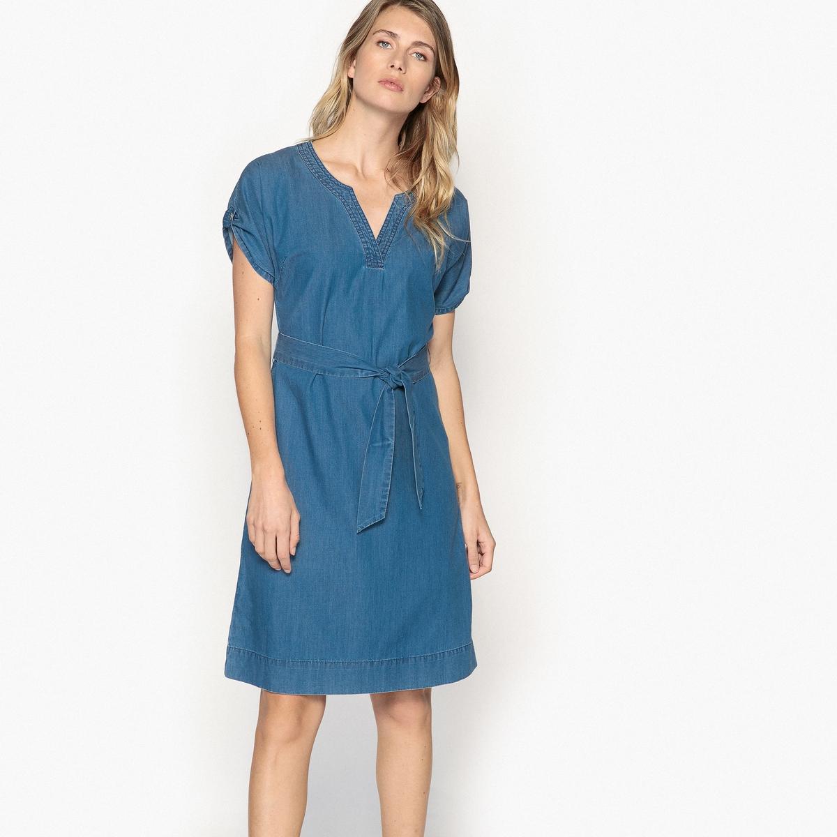 Платье прямое из струящейся джинсовой ткани с короткими рукавами