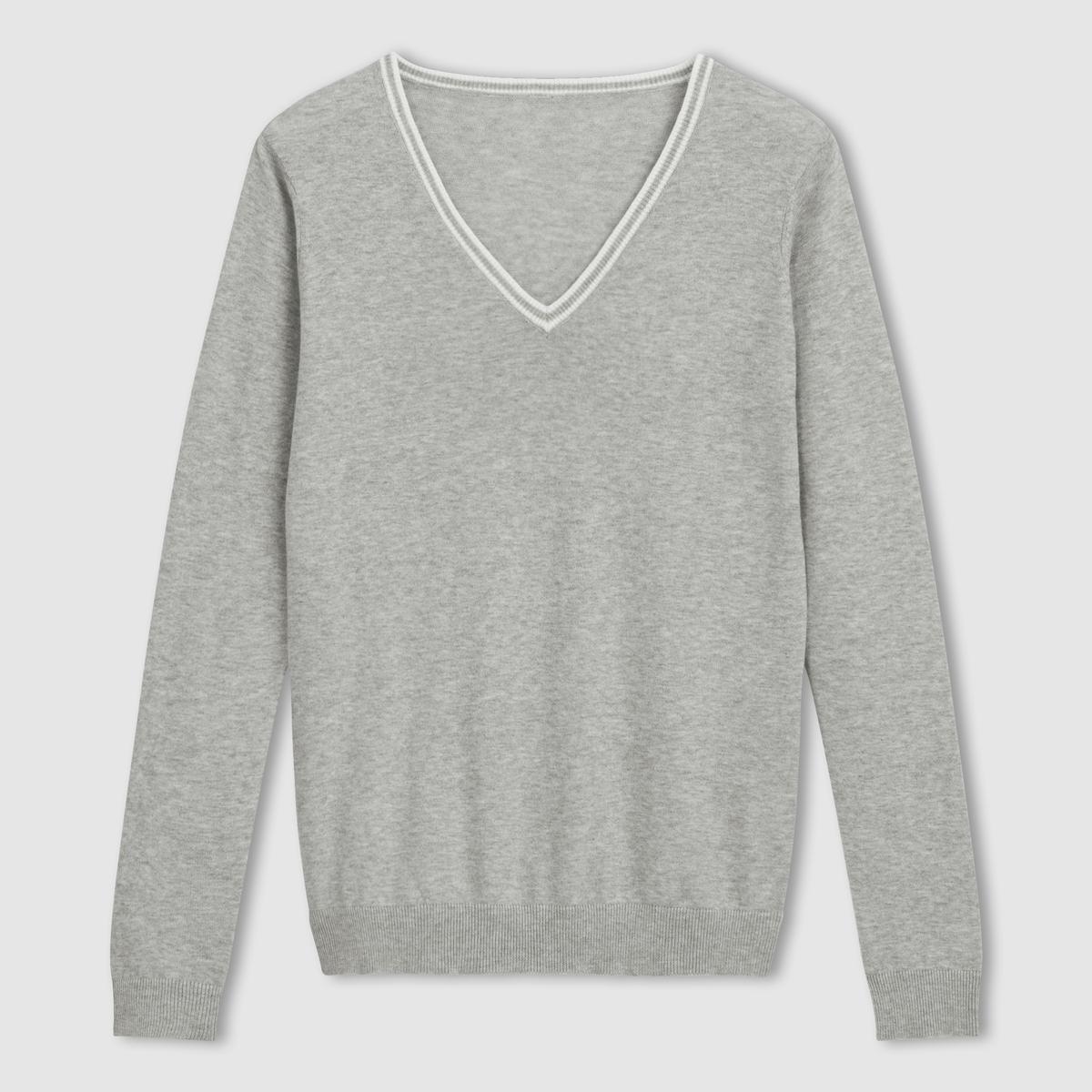 Пуловер 100% хлопка с V-образным вырезомПуловер с V-образным вырезом . 100% хлопка .Воротник с контрастным кантом .  Края выреза, манжет и низа связаны в рубчик . Длина 64 см.<br><br>Цвет: серый меланж<br>Размер: 46/48 (FR) - 52/54 (RUS).50/52 (FR) - 56/58 (RUS)