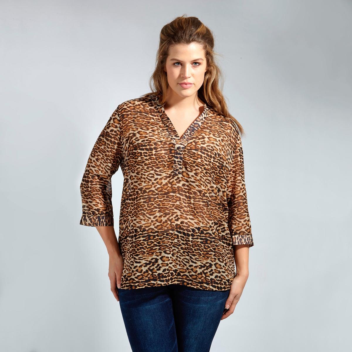 БлузкаБлузка KOKO BY KOKO. Длинные рукава. V-образный вырез. 100% полиэстер<br><br>Цвет: леопардовый рисунок<br>Размер: 50/52 (FR) - 56/58 (RUS)