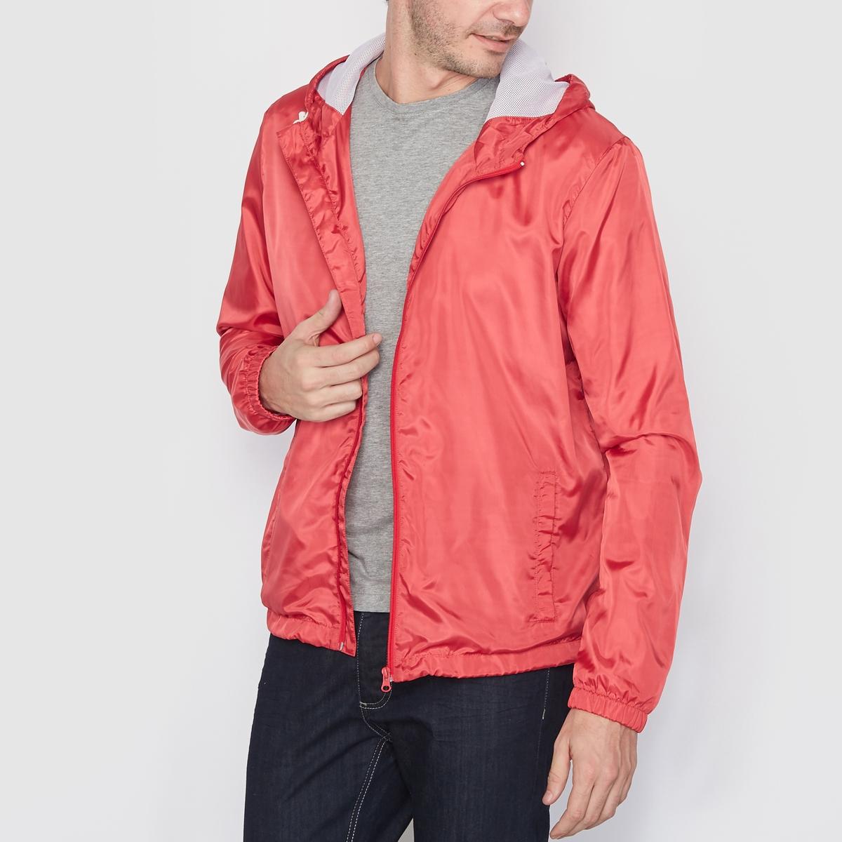 Куртка-ветровка на молнии с капюшономКуртка-ветровка, 100% полиэстера . Капюшон с завязками . Застежка на молнию . 2 кармана по бокам . Длина 70 см .<br><br>Цвет: коралловый<br>Размер: XS.XL