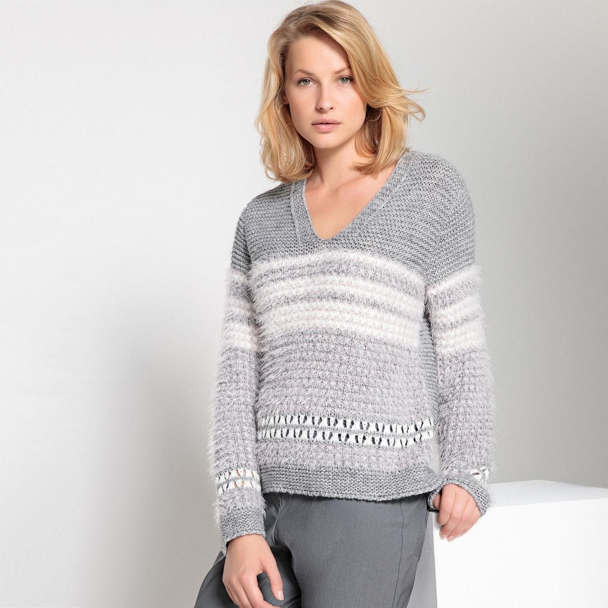 Пуловер с V-образным вырезом из жаккарда ostin жаккардовый джемпер
