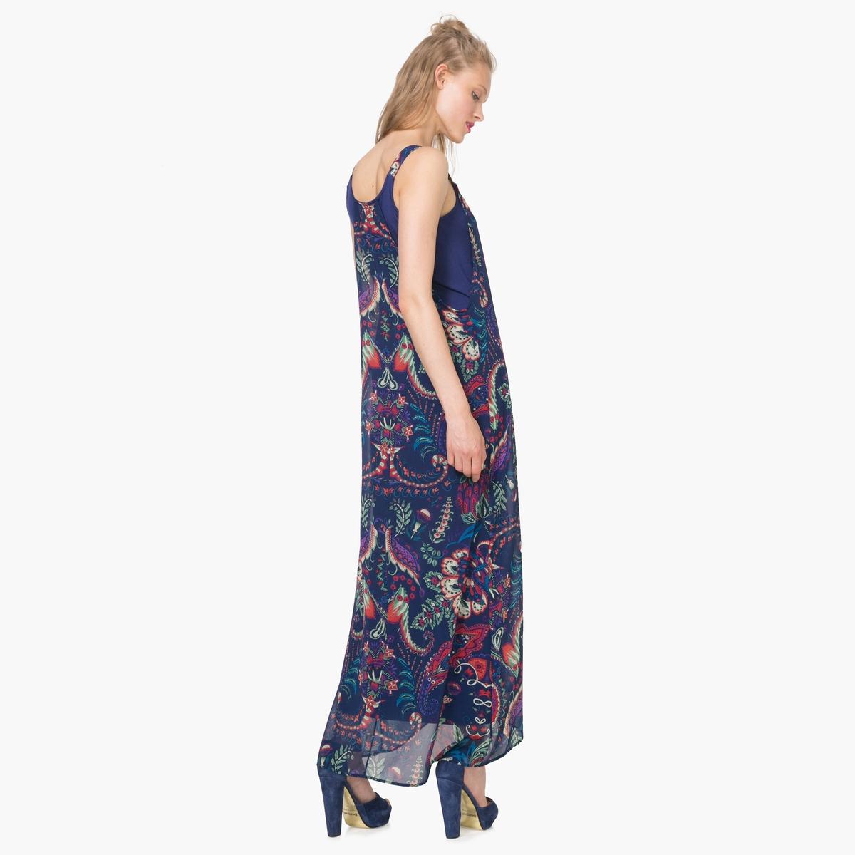 Платье длинное с бретелями с рисункомДетали  •  Форма : длинная •  Длинное •  Тонкие бретели    •  Круглый вырез •  Рисунок-принт Состав и уход •  33% хлопка, 67% полиэстера •  Следуйте советам по уходу, указанным на этикетке<br><br>Цвет: темно-синий<br>Размер: 36 (FR) - 42 (RUS)