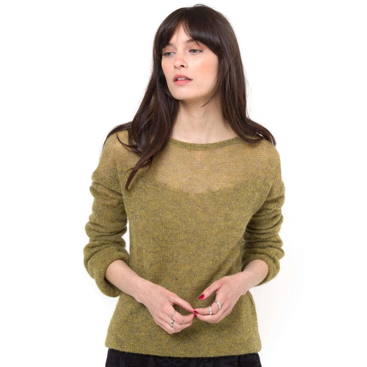 Пуловер с длинными рукавами, 20% мохераПуловер из воздушного трикотажа: 50% полиамида, 30% акрила, 20% мохера. Круглый вырез. Длинные рукава с напуском. Длина: 62 см..<br><br>Цвет: зеленый меланж<br>Размер: 46/48 (FR) - 52/54 (RUS)