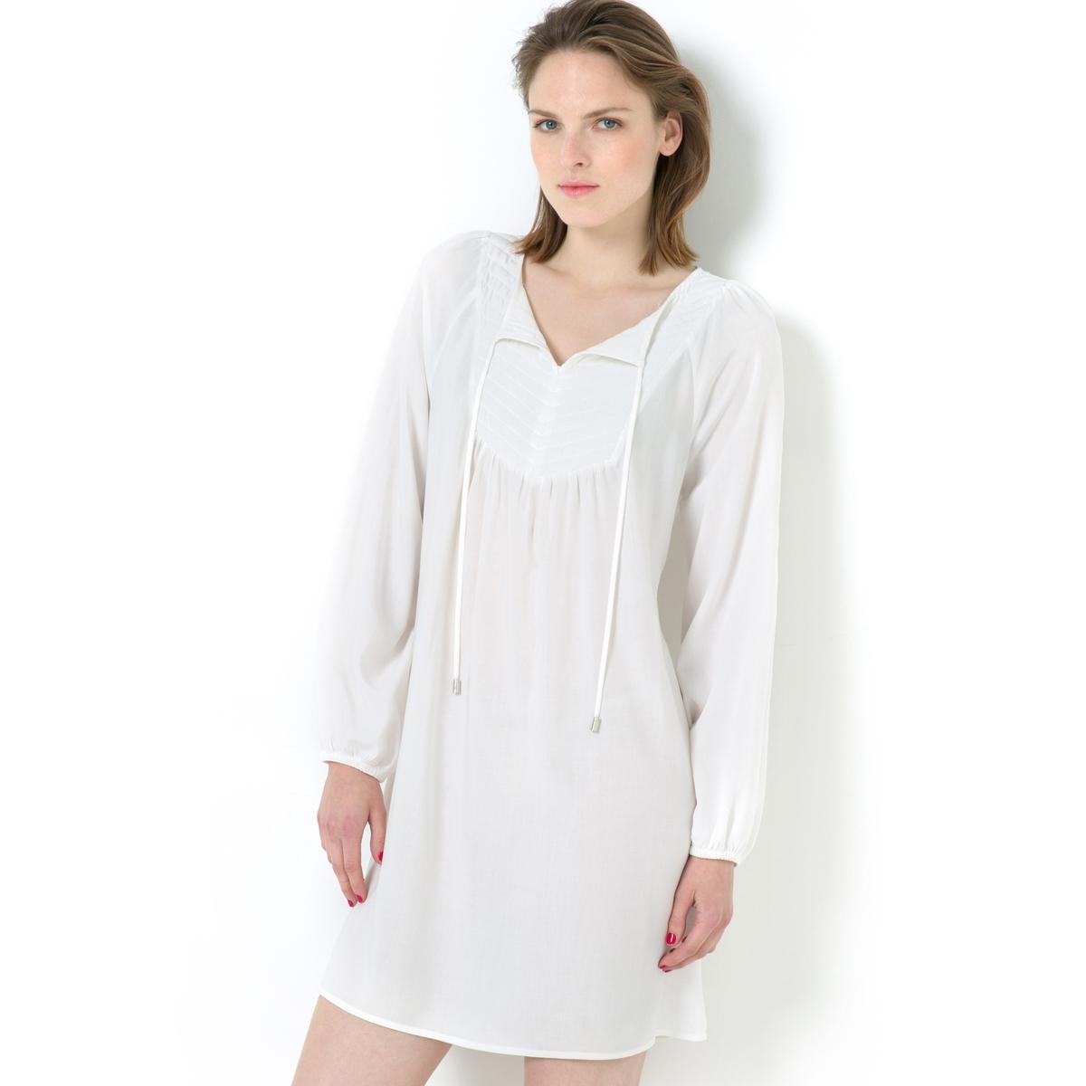 Платье с манишкойПлатье из 100% вискозы. Объемный покрой. Стёганая манишка спереди. Длинные рукава с эластичным низом. Длина: 92 см.<br><br>Цвет: экрю<br>Размер: 38 (FR) - 44 (RUS)