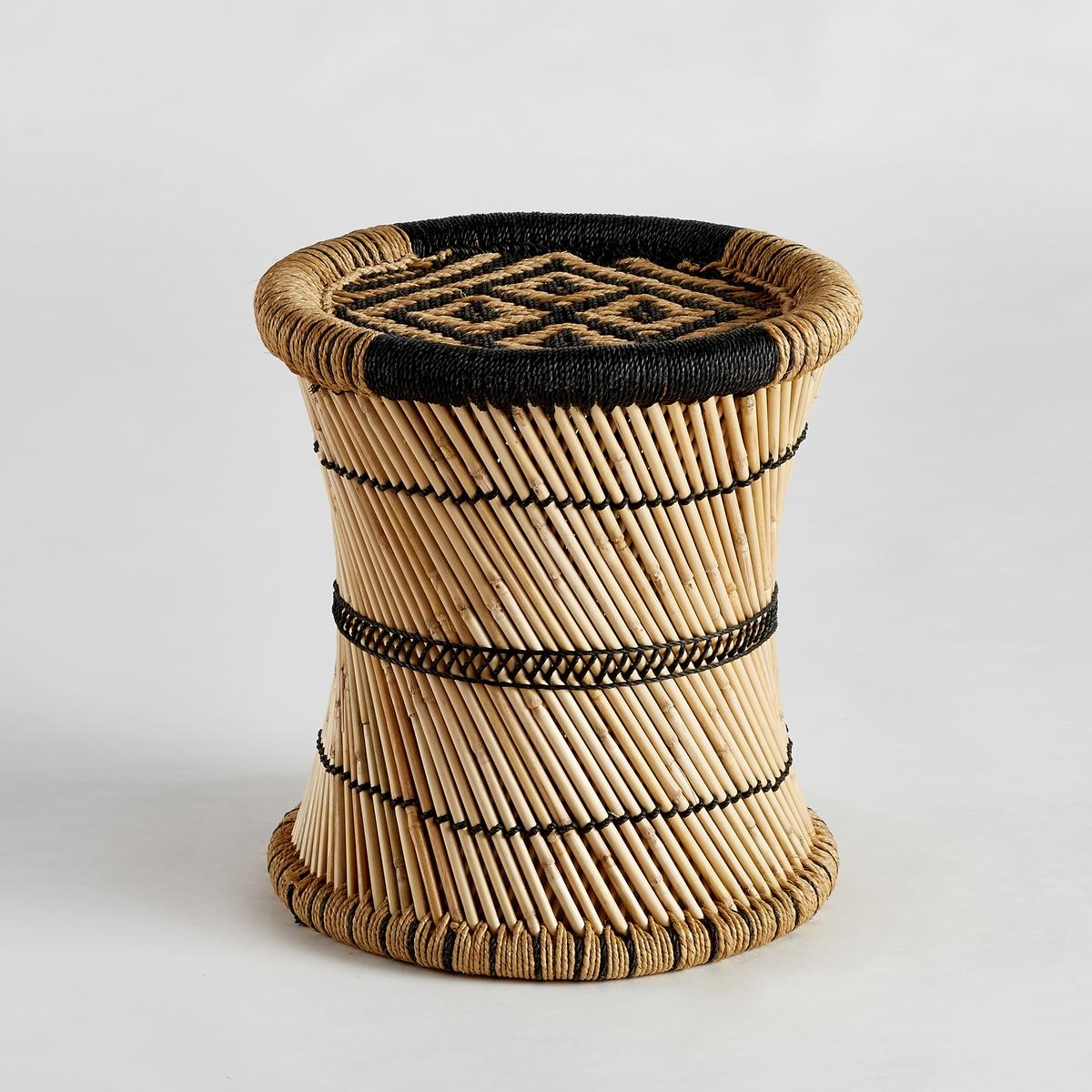Столик диванный Tingda, рисунок в стиле икатДиванный столик Tingda. Можно использовать отдельно или в сочетании с другими моделями из нашей коллекции, которые продаются на нашем сайте. Характеристики :- Из плетеного бамбука и веревки из полиэстера. Ручное производство. Размеры  :- диаметр 41 x высота 43 см.<br><br>Цвет: экрю/ черный