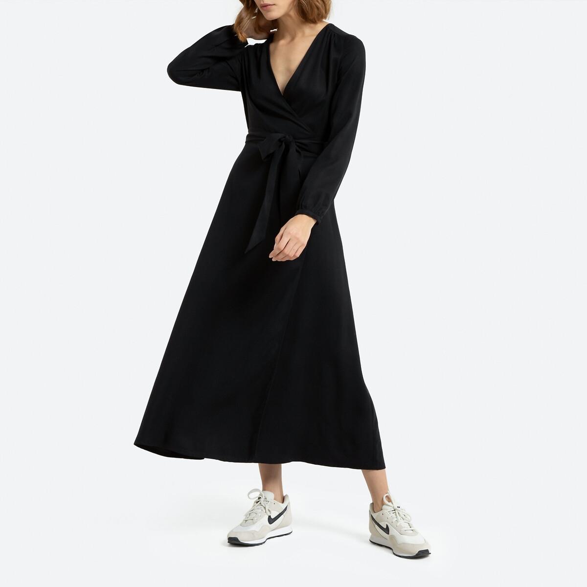 Платье La Redoute С запахом длинное из лиоцелла 40 (FR) - 46 (RUS) черный